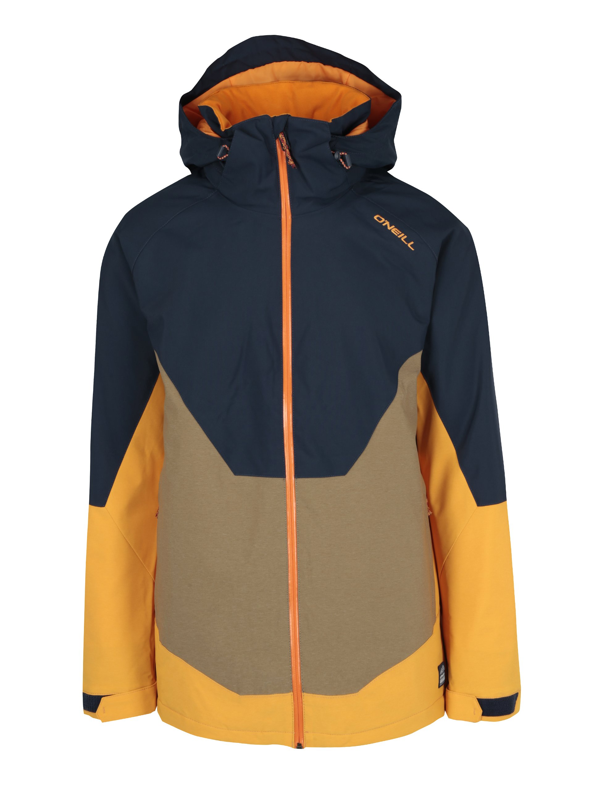 Žluto-modrá pánská zimní voděodolná bunda s kapucí O'Neill