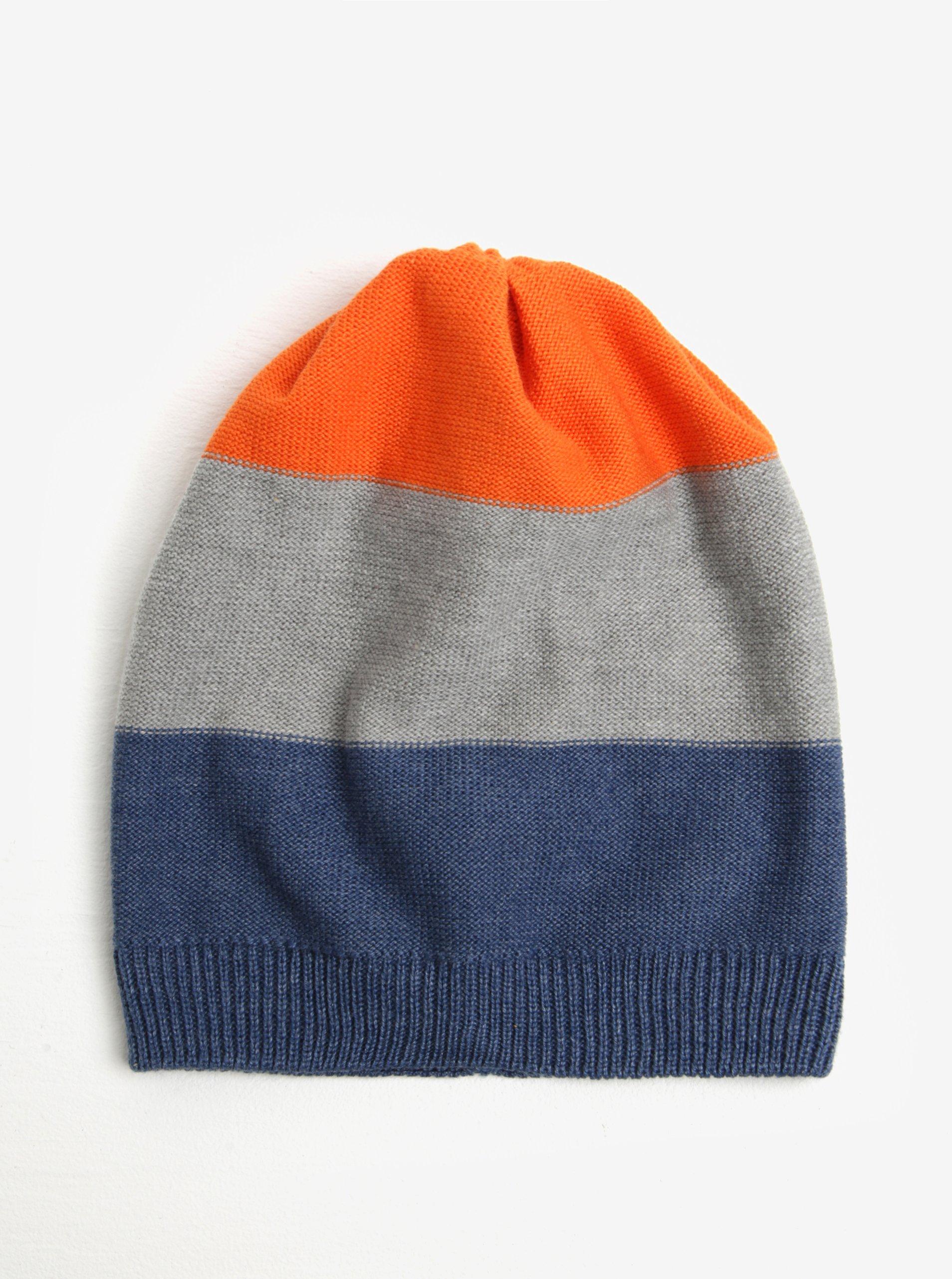 Modro-oranžová klučičí pruhovaná čepice 5.10.15.
