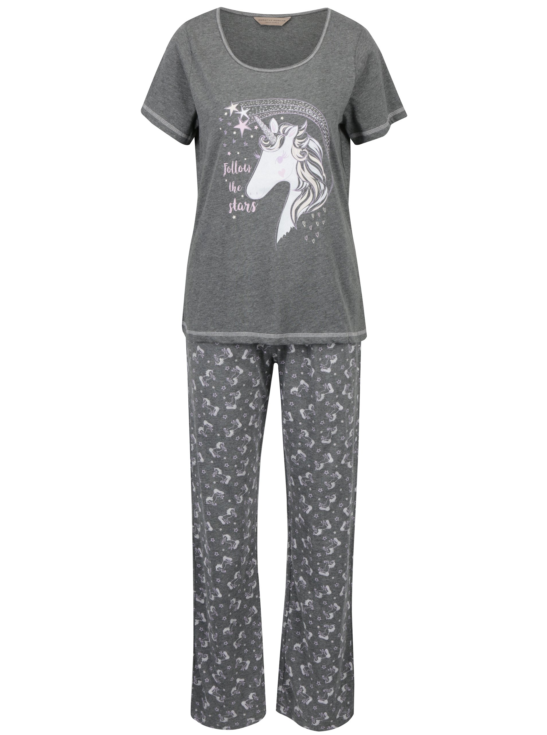 Šedé pyžamo s potiskem jednorožců Dorothy Perkins