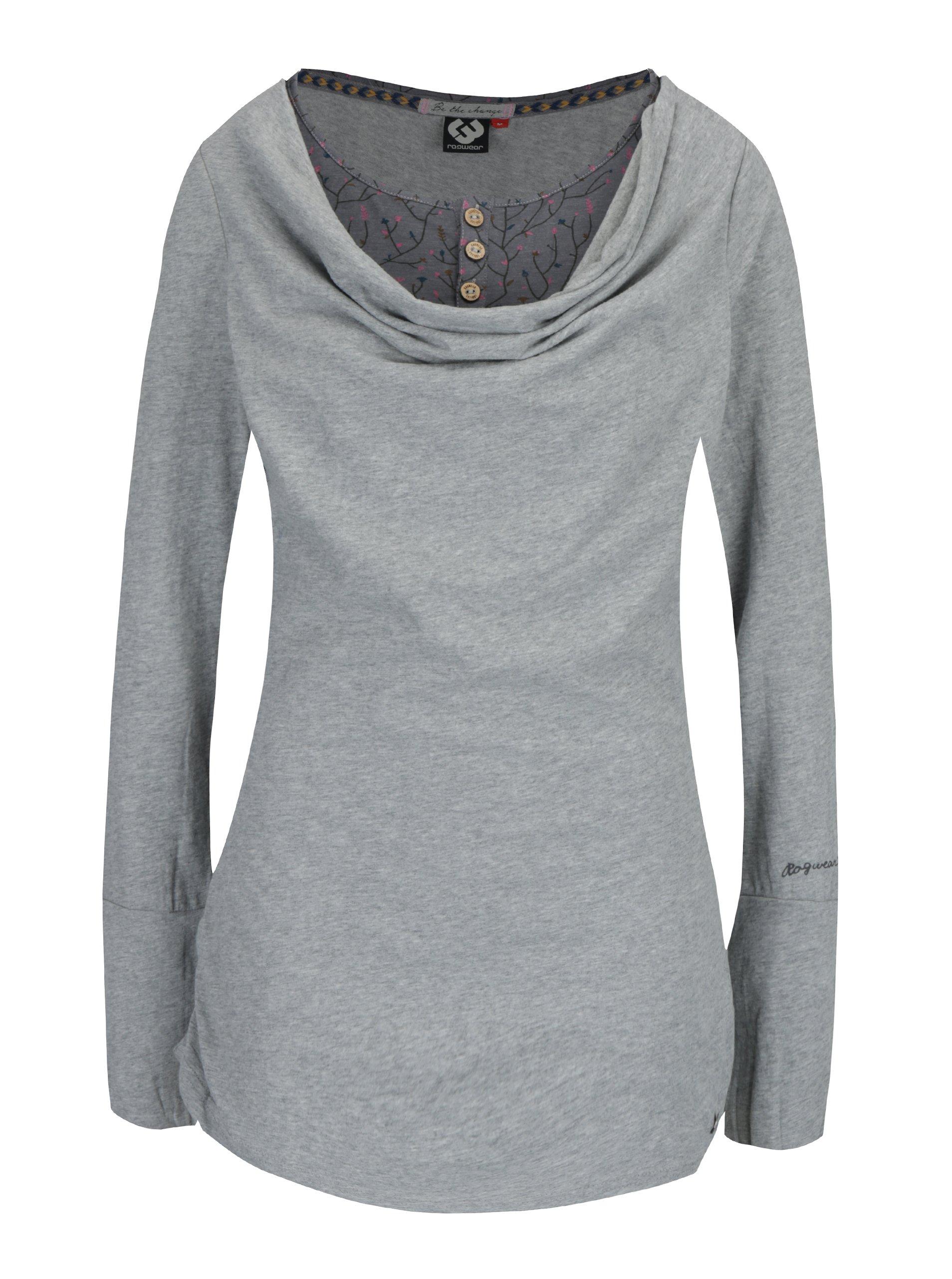 Šedé dámské žíhané dlouhé tričko s všitým dílem Ragwear Zimt
