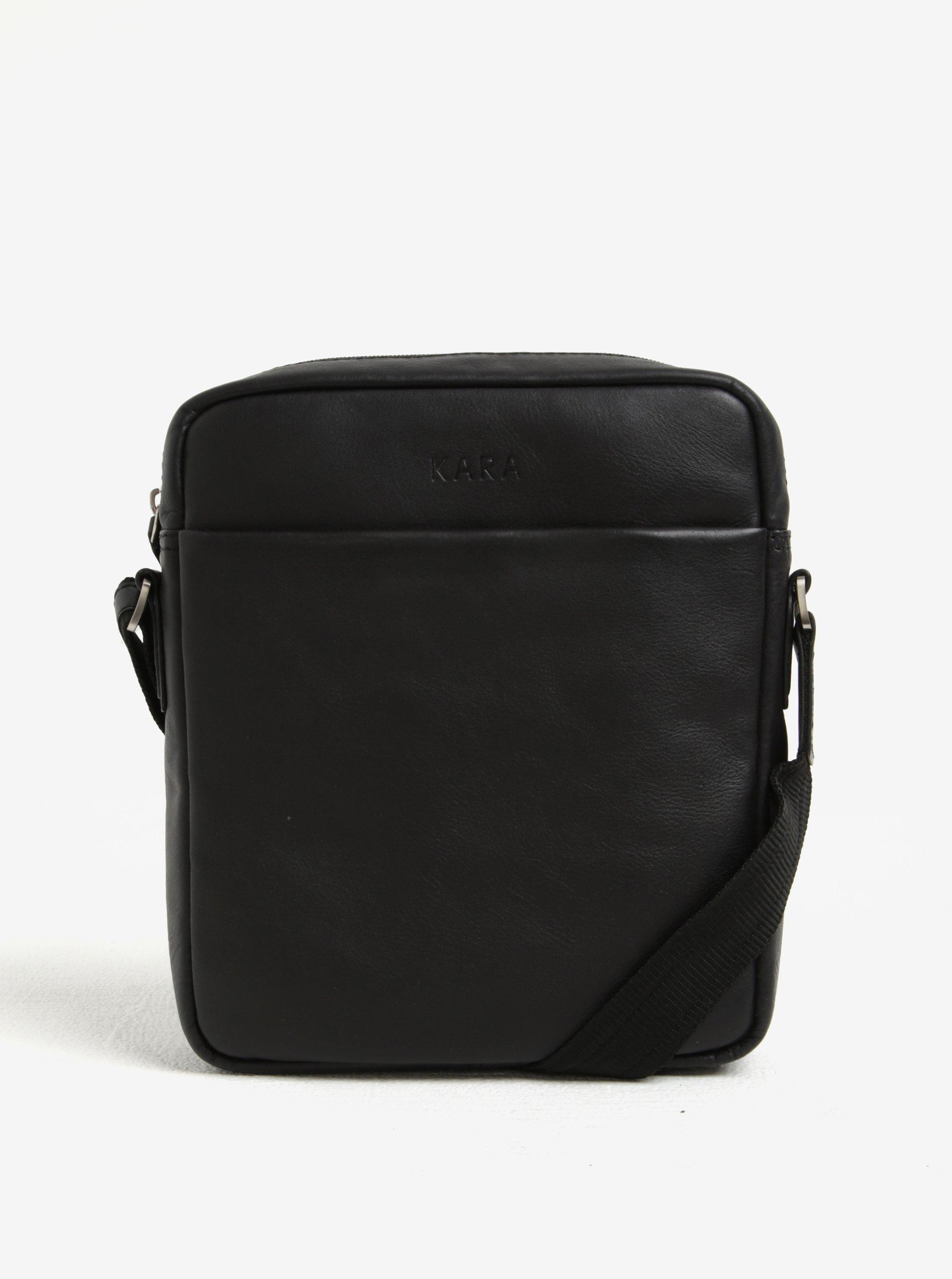 Černá pánská kožená crossbody taška KARA