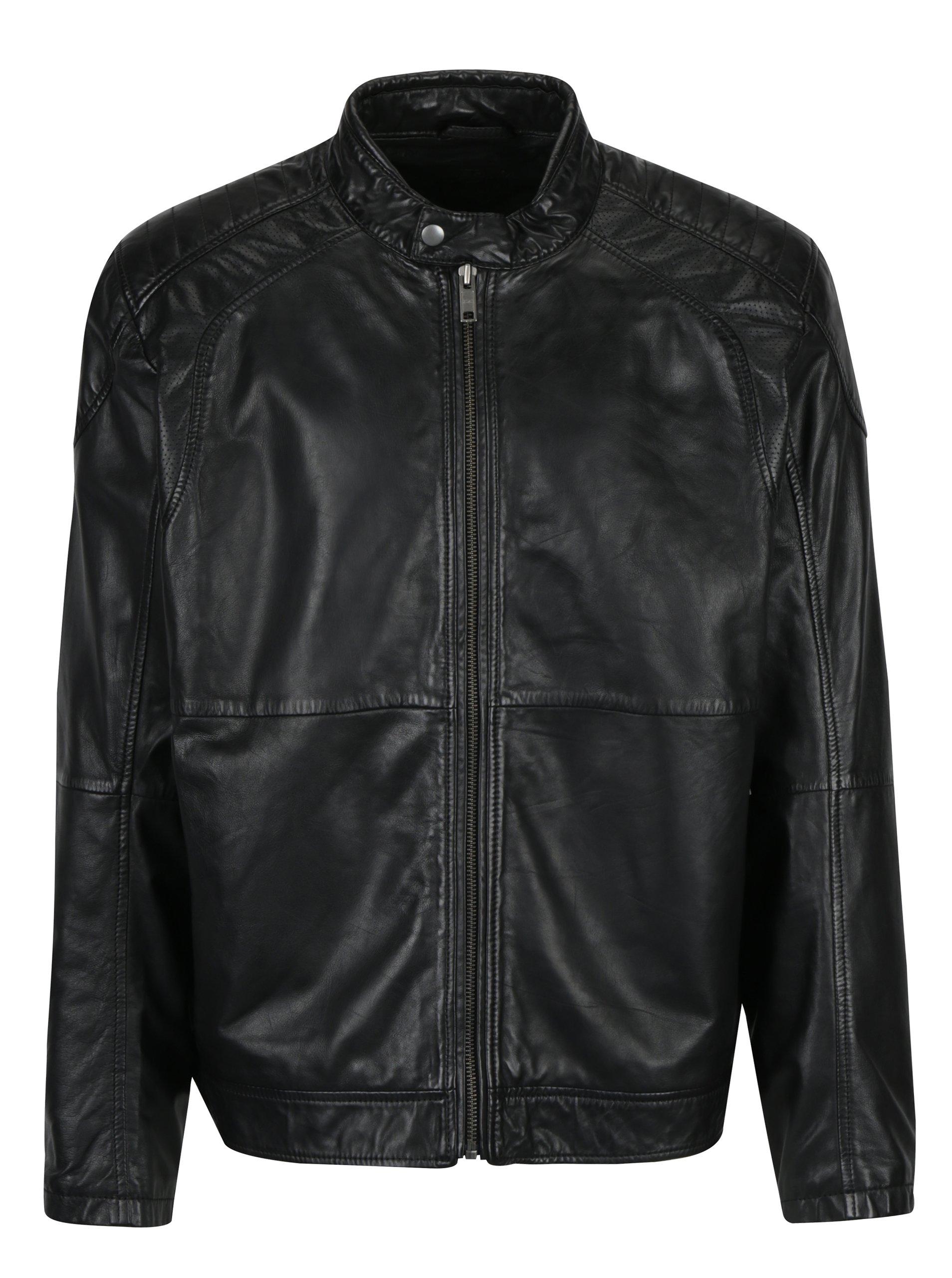 Černá pánská kožená bunda KARA