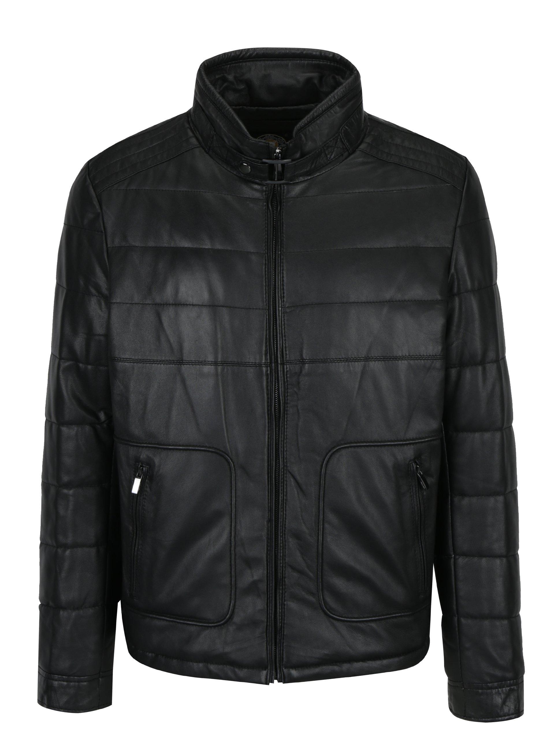 Černá pánská prošívaná kožená bunda KARA Joe Armain