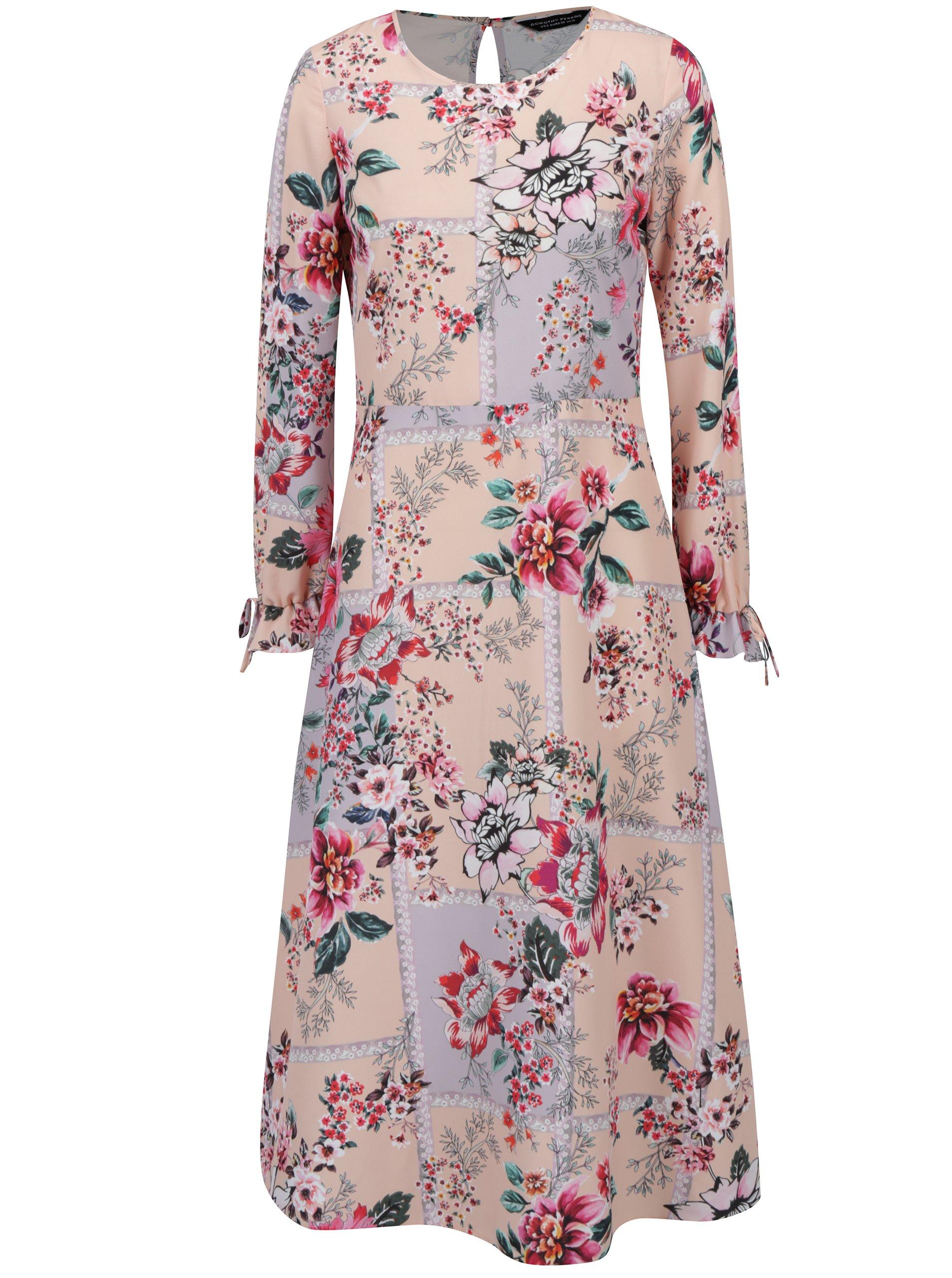 Růžové květované šaty s volány na rukávech Dorothy Perkins