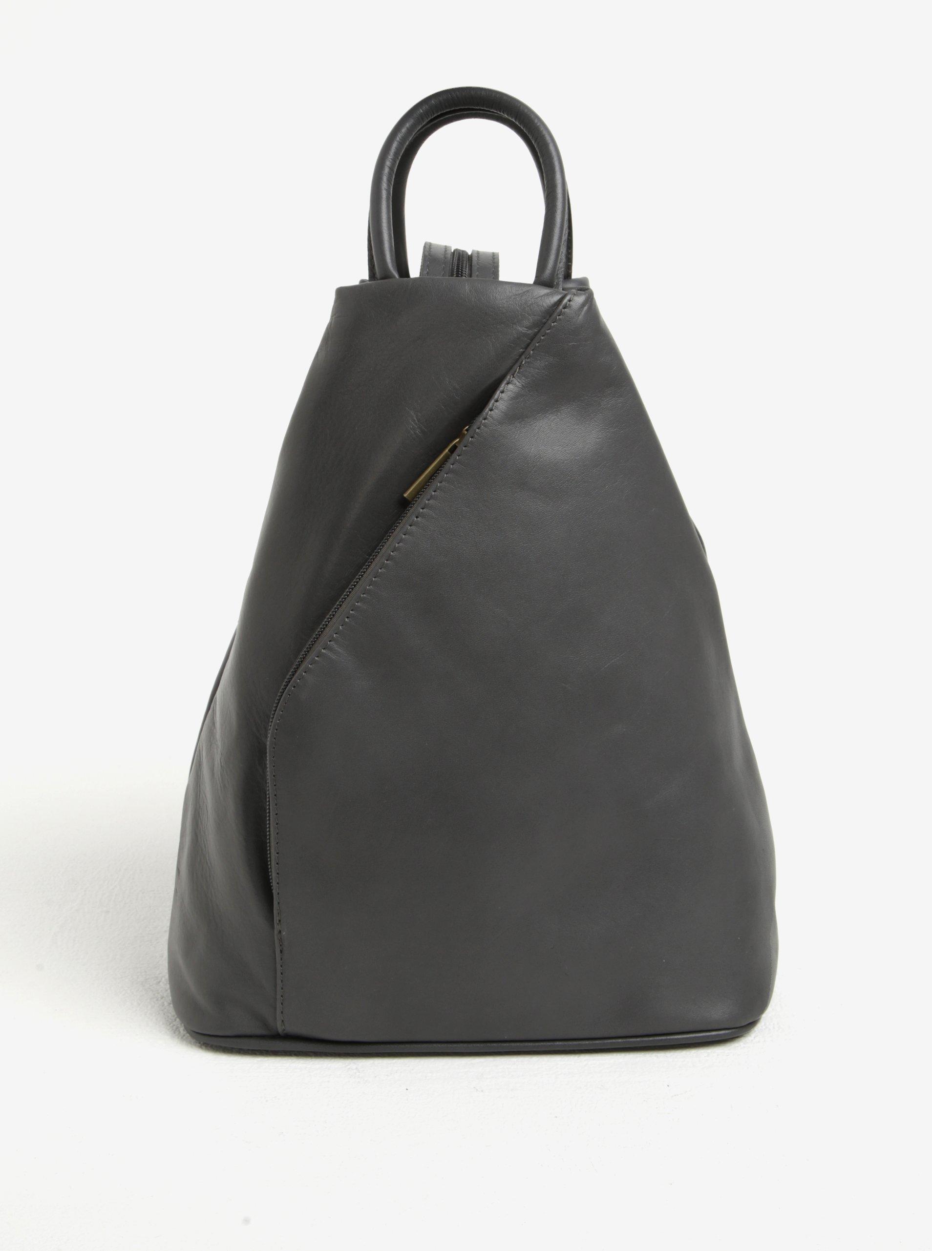 Šedý dámský kožený batoh/kabelka KARA