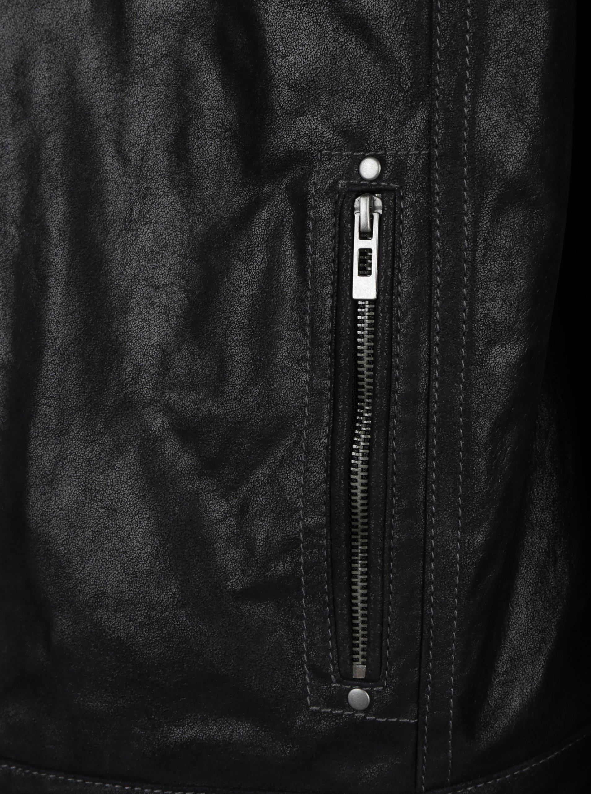 b25ab3b22b1 Černá pánská kožená bunda s kapucí KARA Dorian