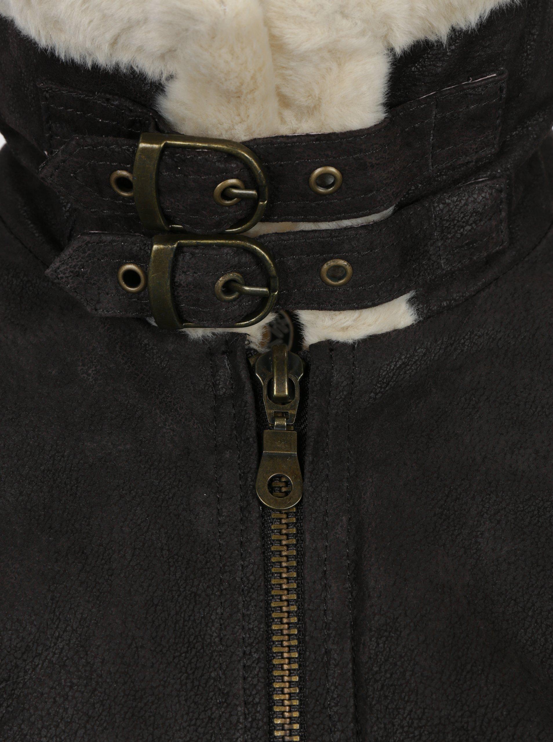 Hnědá pánská kožená bunda s umělou kožešinou KARA - SLEVA ... b6b66c2124b