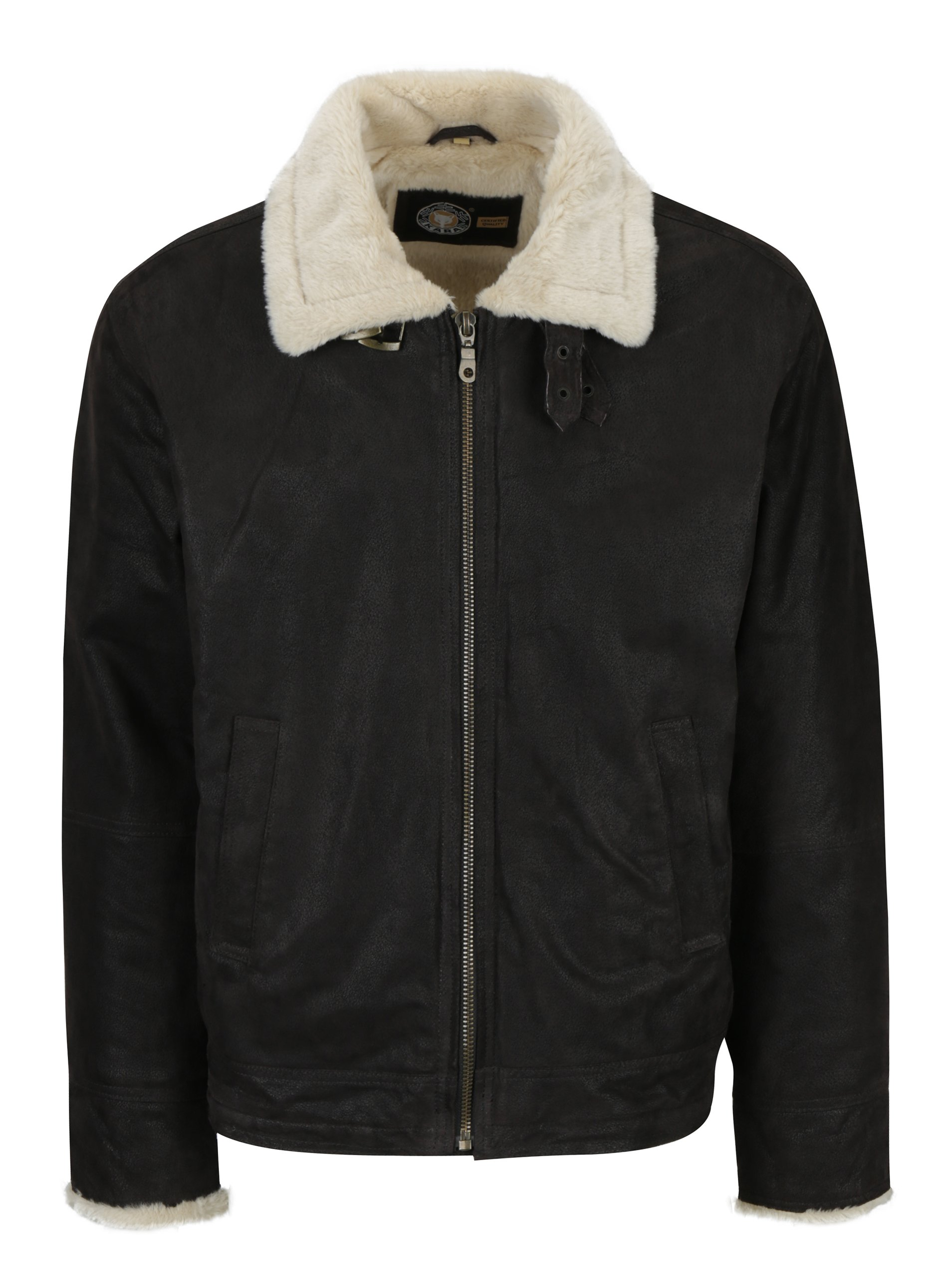 Hnědá pánská kožená bunda s umělou kožešinou KARA