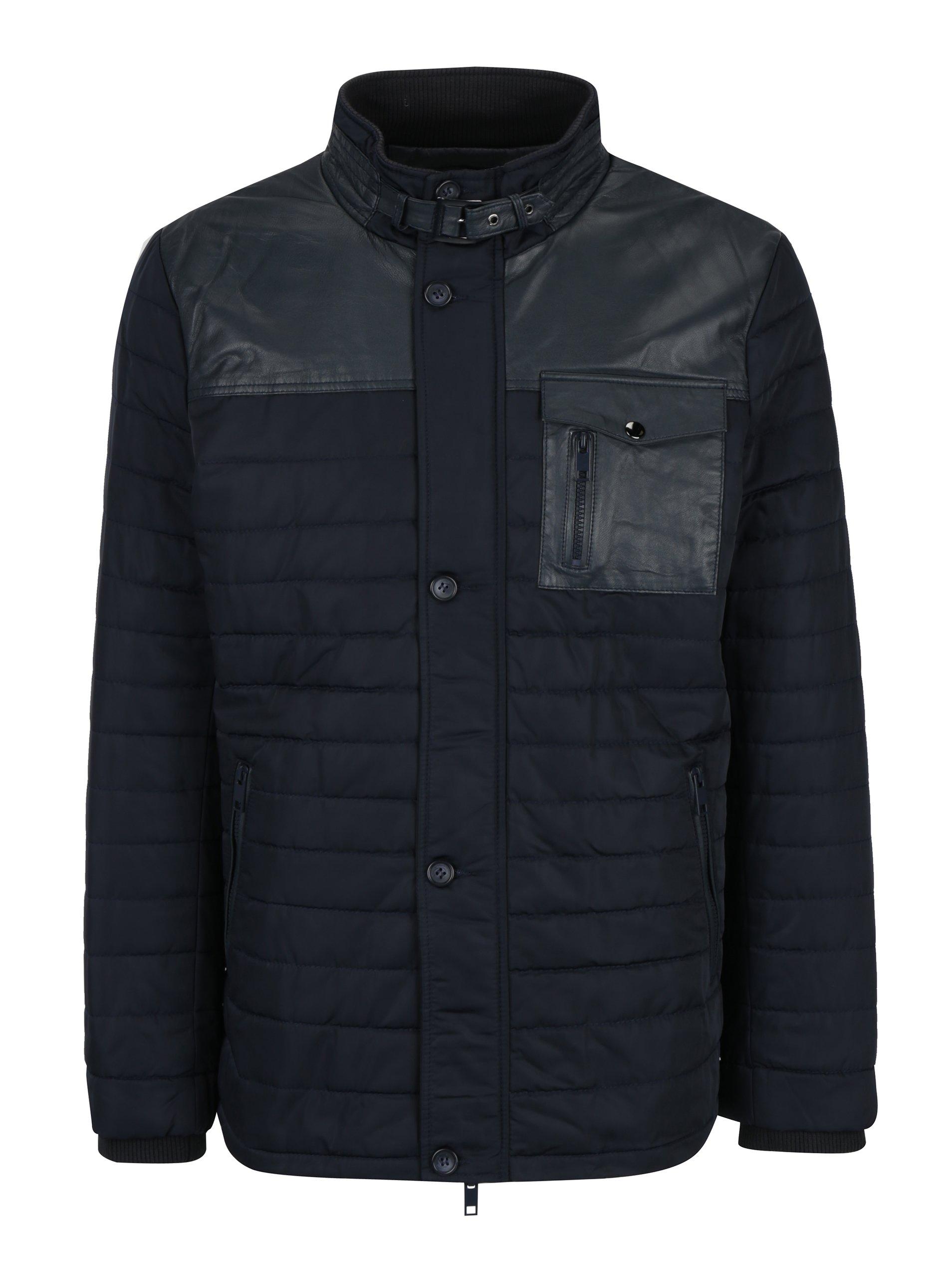 Tmavě modrá pánská kožená bunda KARA Ozoir
