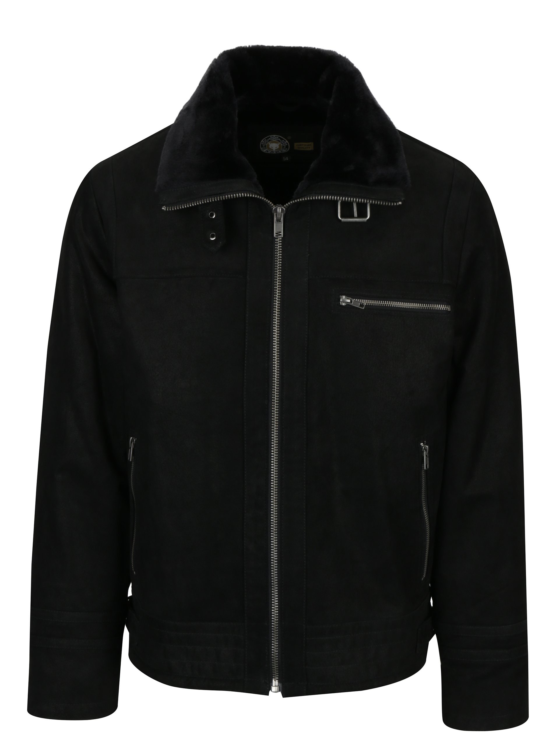 Černá pánská kožená bunda s umělou kožešinou KARA Drew