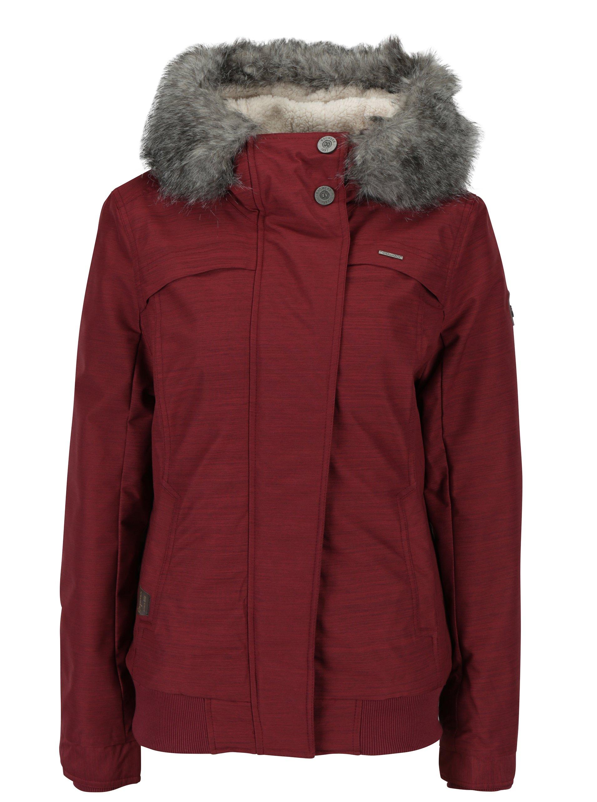 Vínová dámská zimní voděodolná bunda s umělým kožíškem Ragwear Wooki