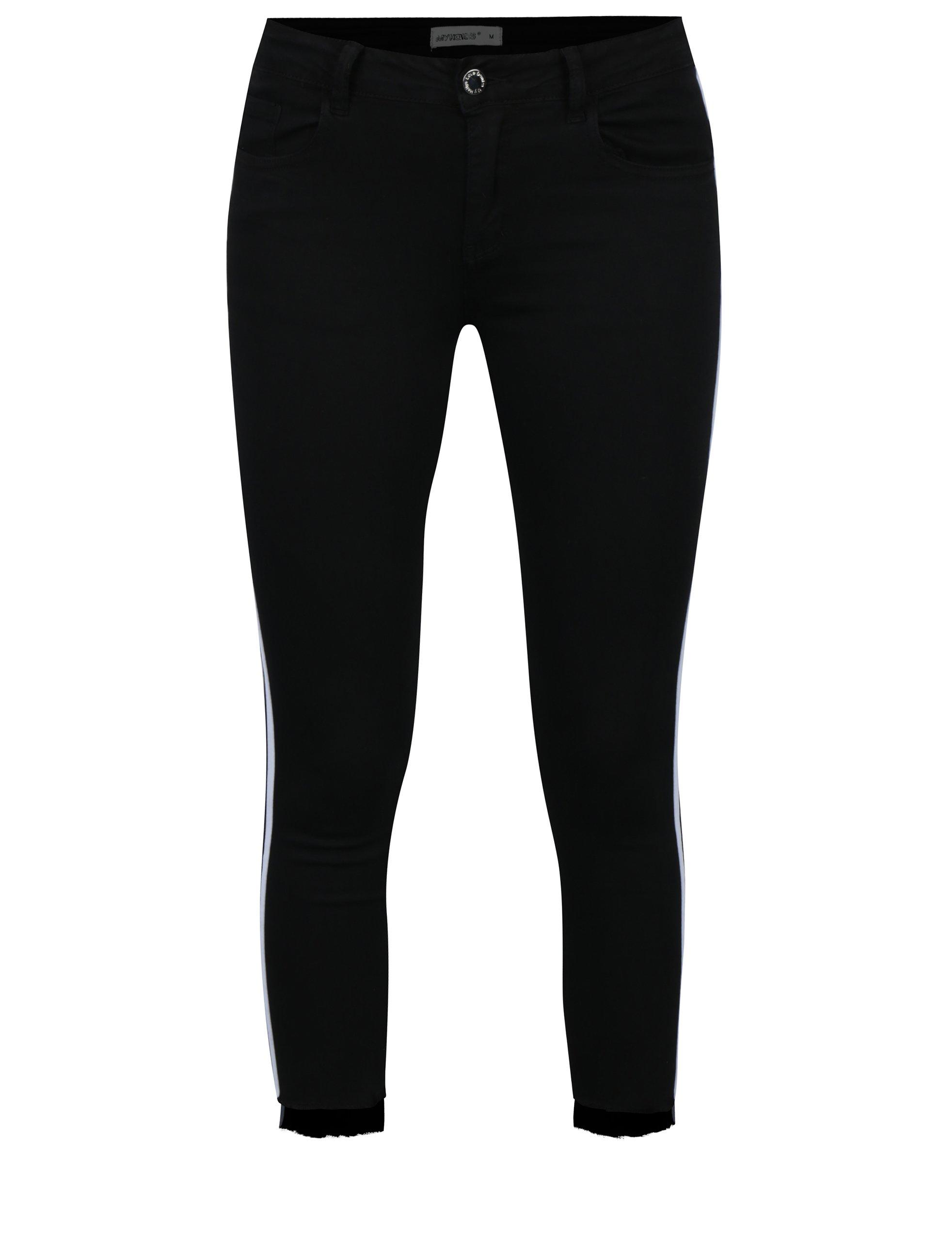 Černé kalhoty s bílými pruhy Haily´s Two