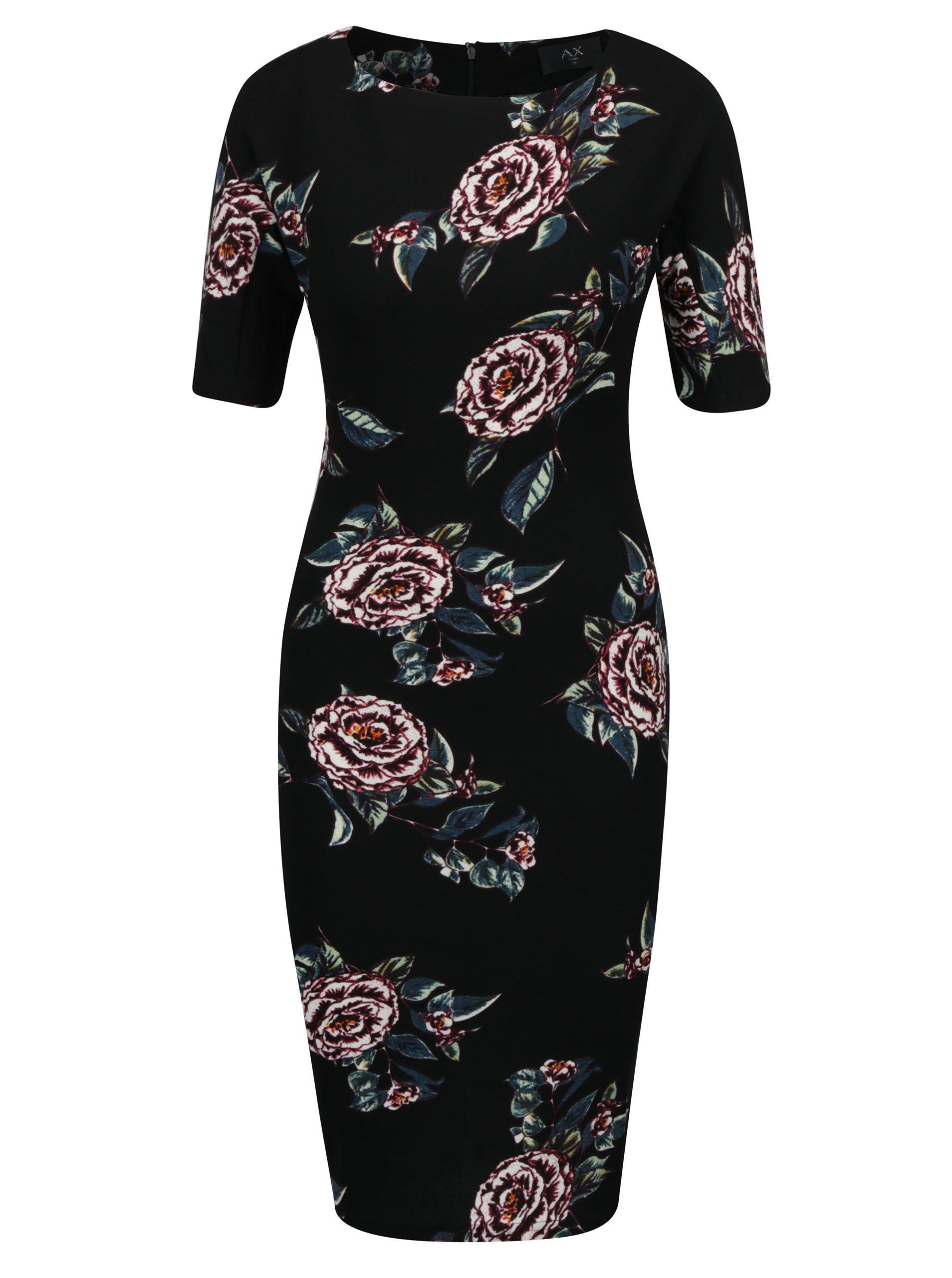 Černé květované pouzdrové šaty s krátkým rukávem AX Paris