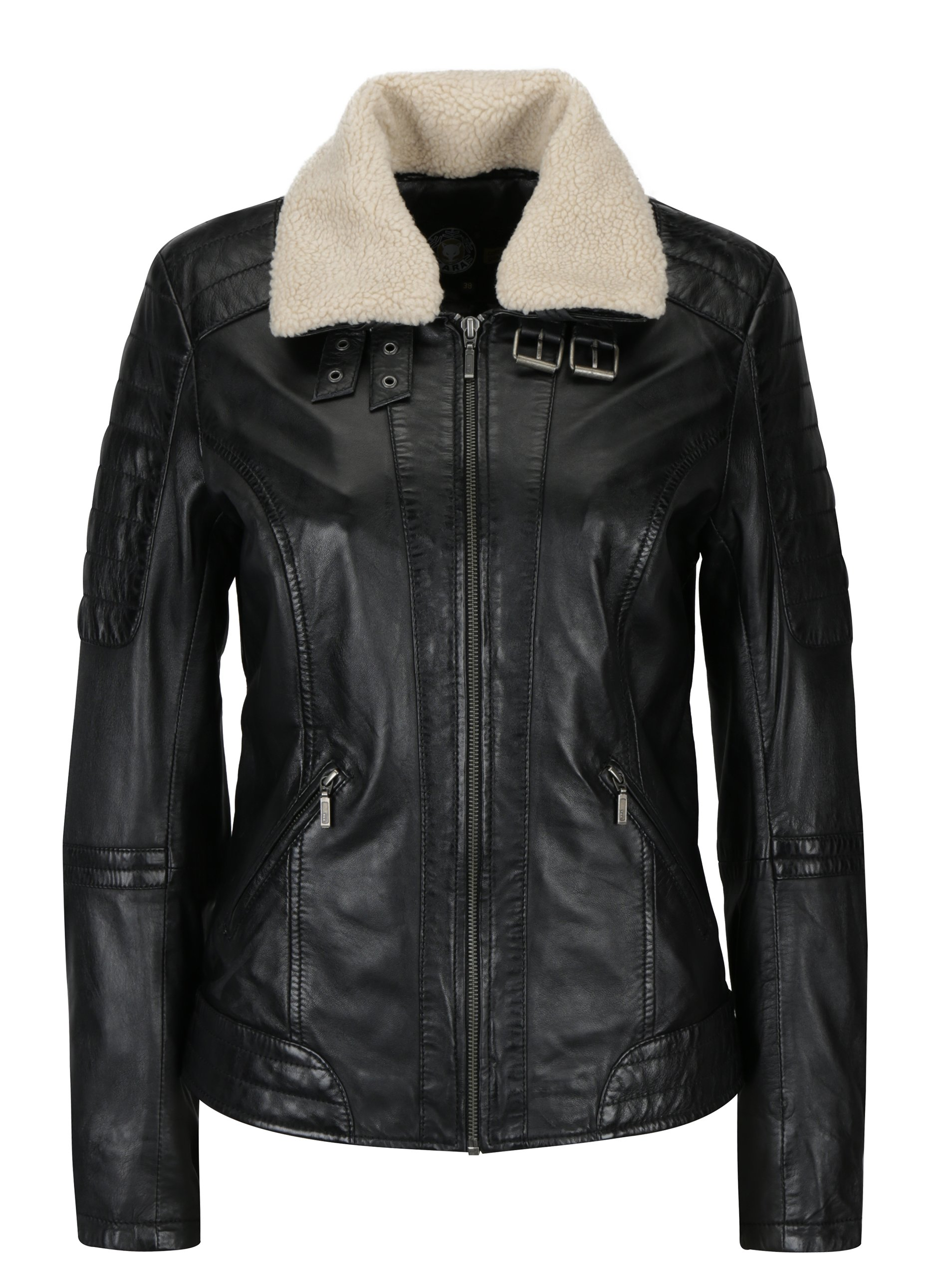 Černá dámská kožená bunda s umělou kožešinou KARA Hanna