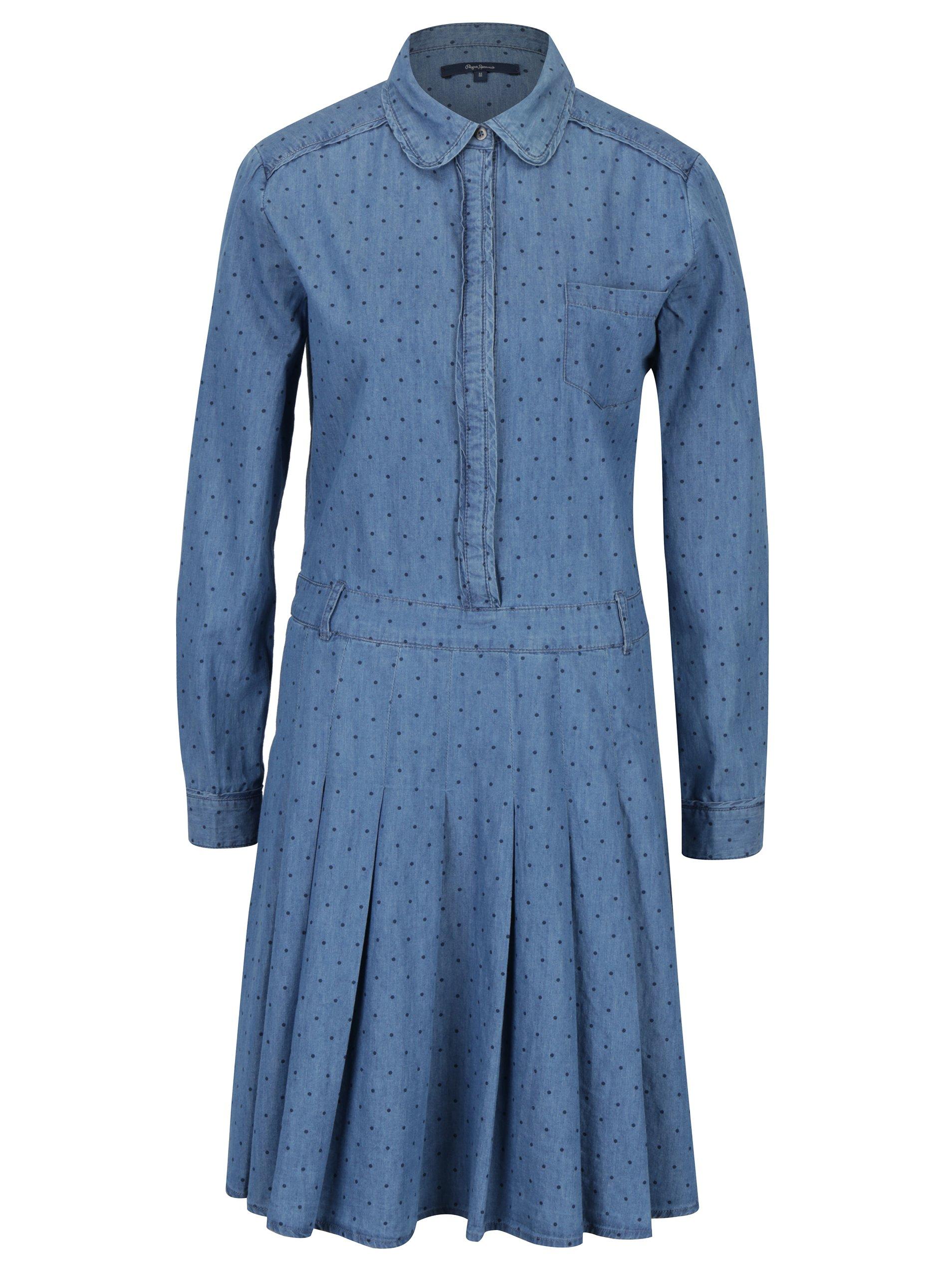 a869f28c4c3a Modré puntíkované džínové košilové šaty Pepe Jeans Tasia ŽENY   Šaty   šaty  na denní nošení
