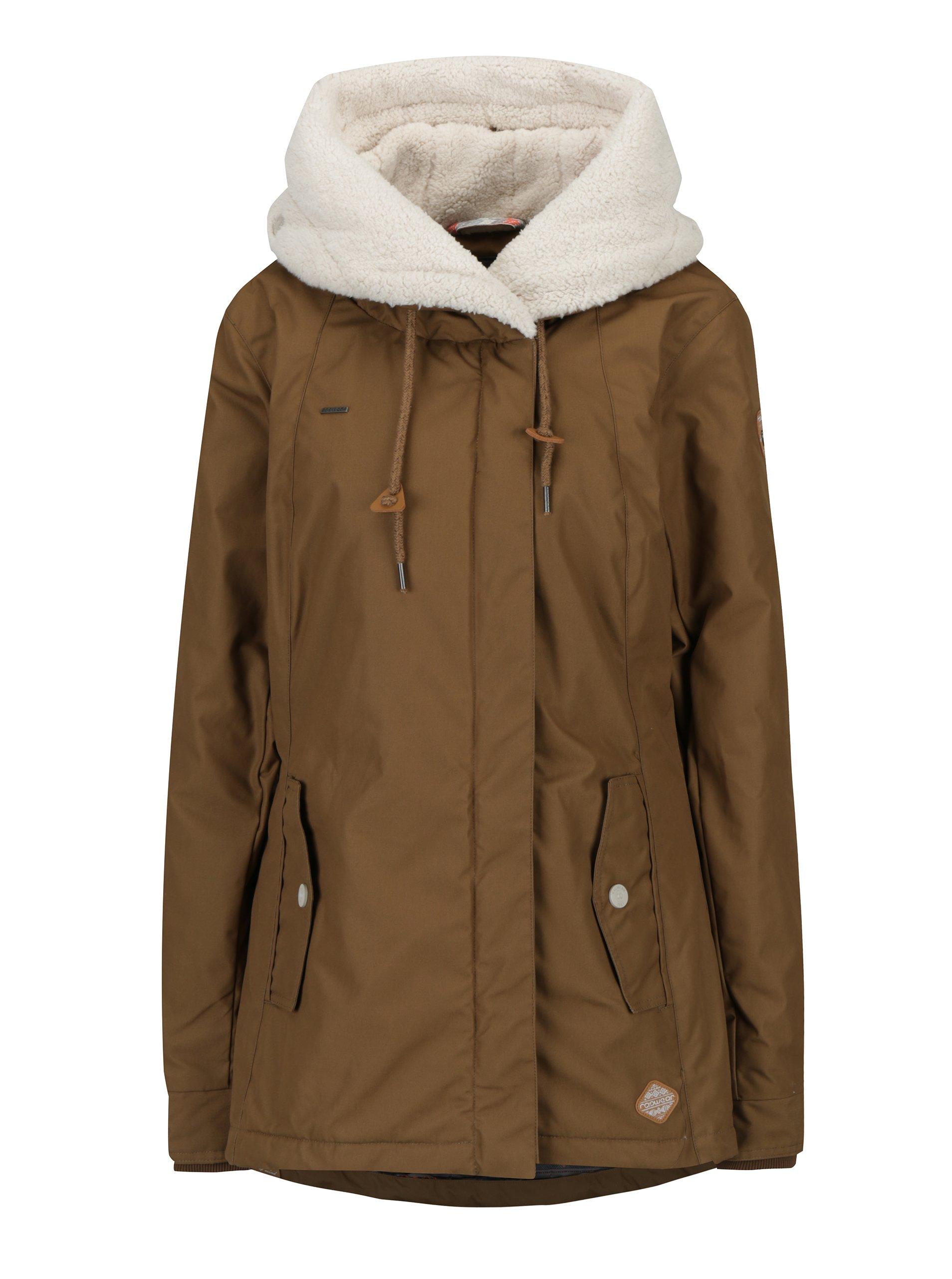 Hnědá dámská zimní bunda s kapucí a kapsami Ragwear Monica