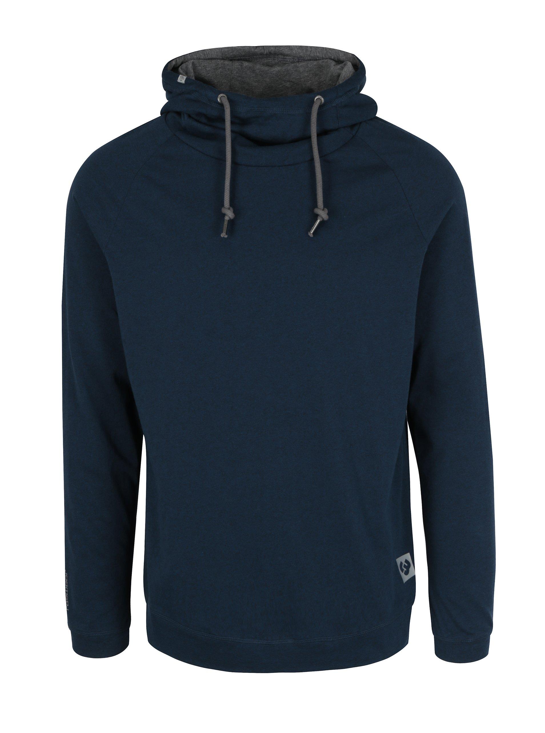 Tmavě modré pánské žíhané tričko s kapucí Ragwear Edison