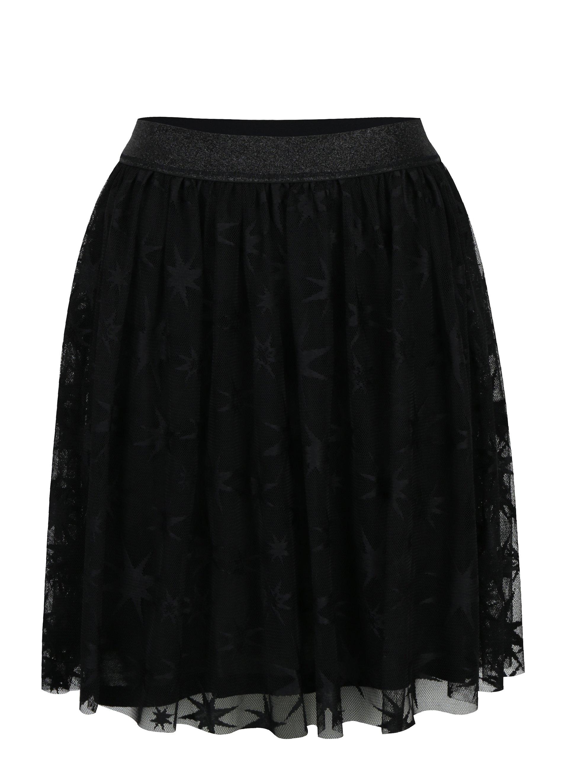 Čierna tylová vzorovaná sukňa Rich & Royal