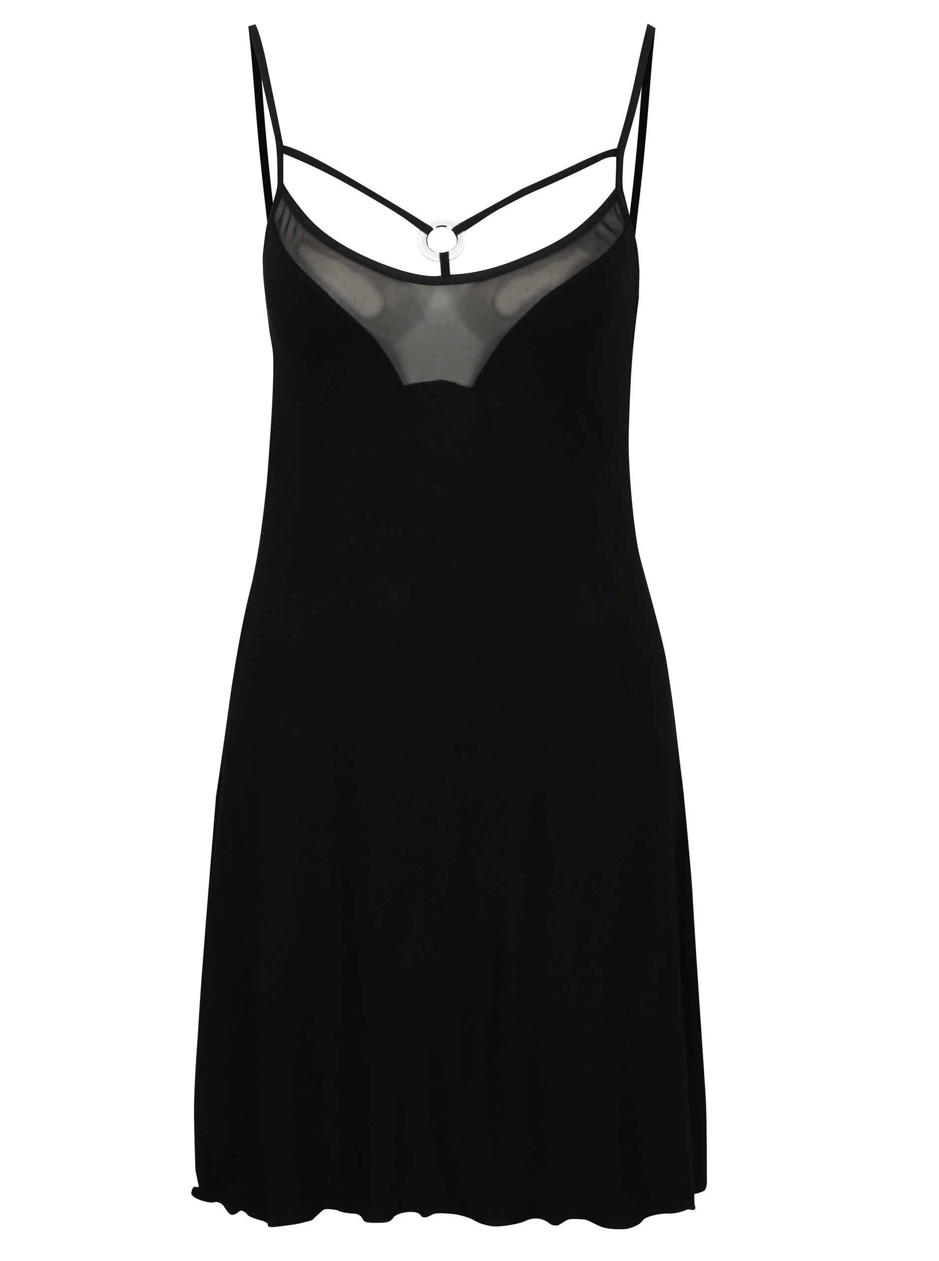 Černá noční košilka s průsvitnými detaily a pásky v dekoltu Eldar Helen