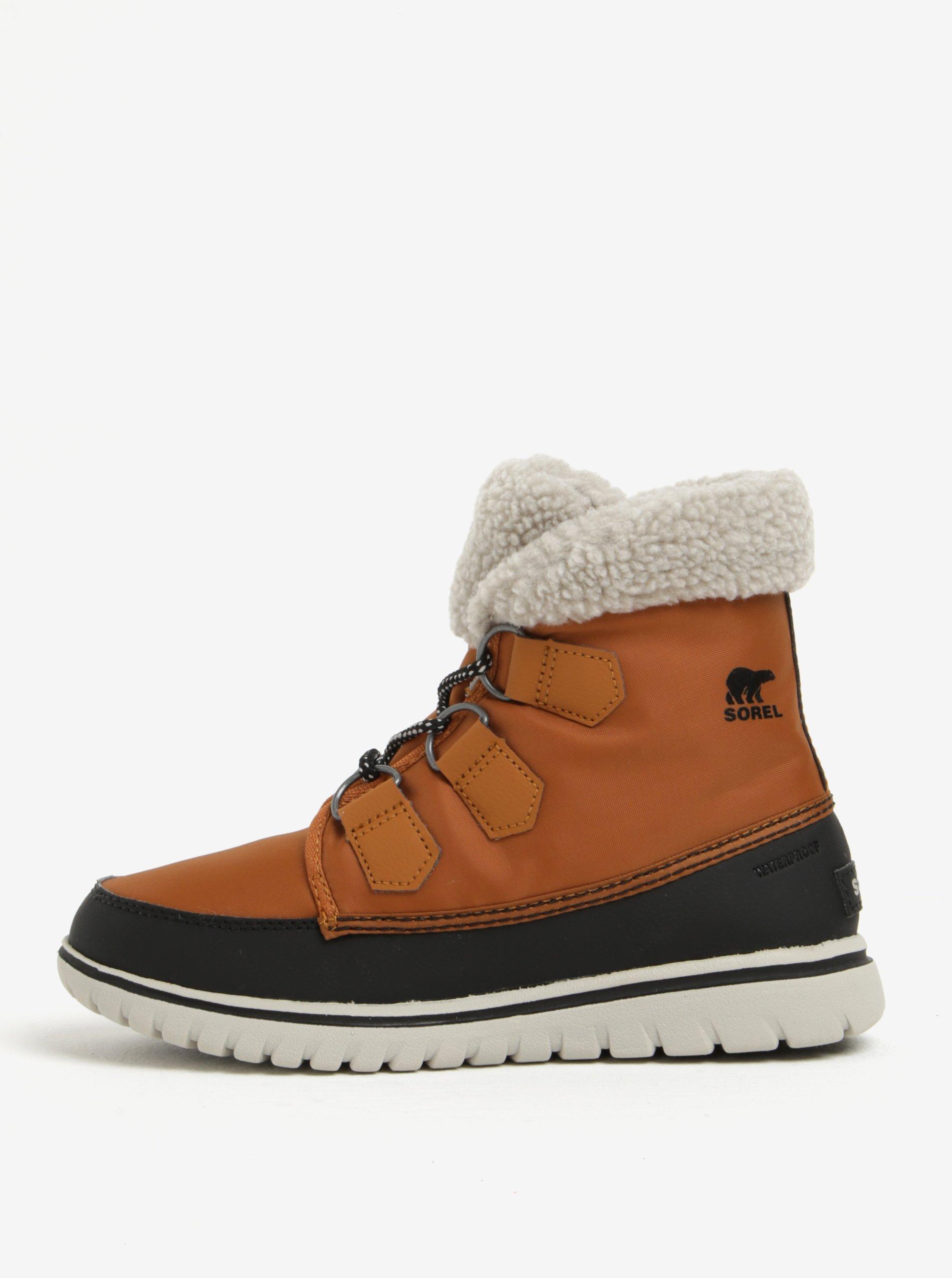 Hnědé dámské kotníkové voděodolné zimní boty s umělým kožíškem SOREL