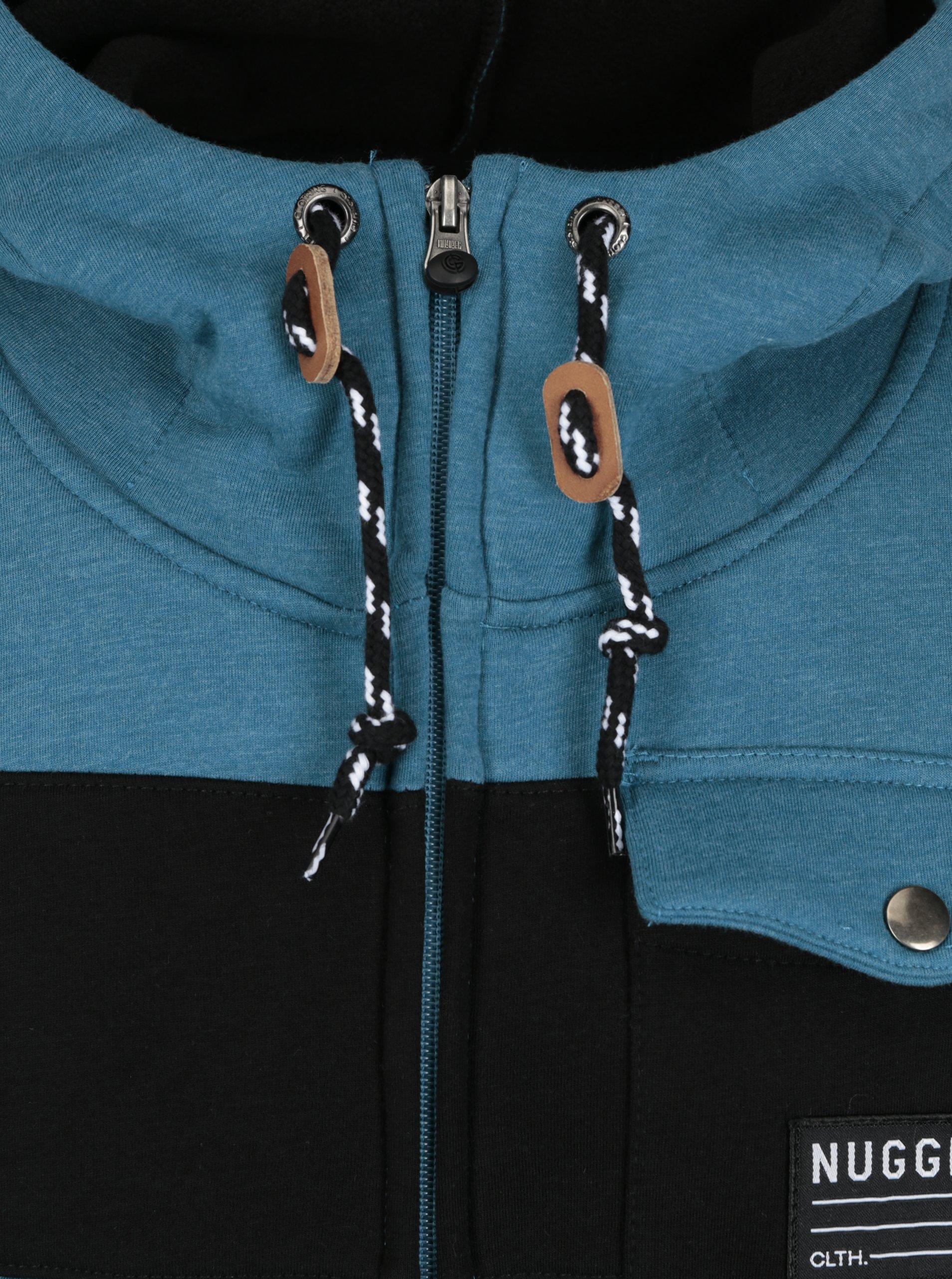 Černo-modrá pánská mikina s kapucí NUGGET Coil - eleganter.cz 7280706a21a