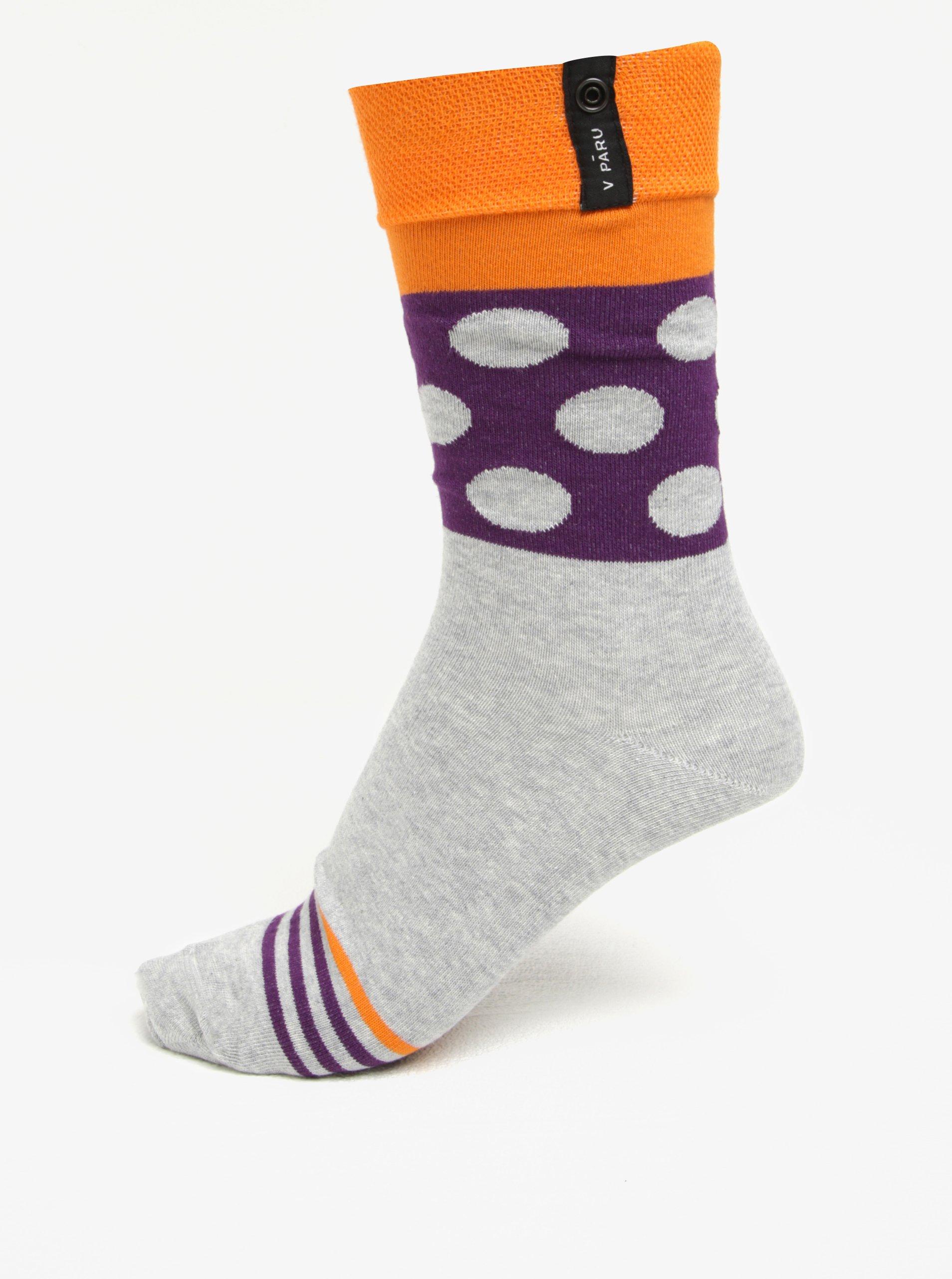 Oranžovo-šedé vzorované unisex ponožky V páru