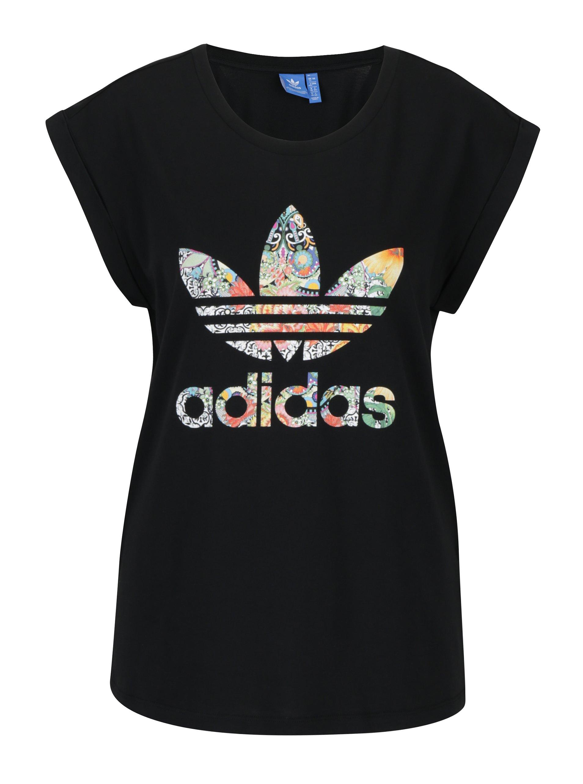 Čierne dámske tričko so vzorovanou potlačou adidas Originals