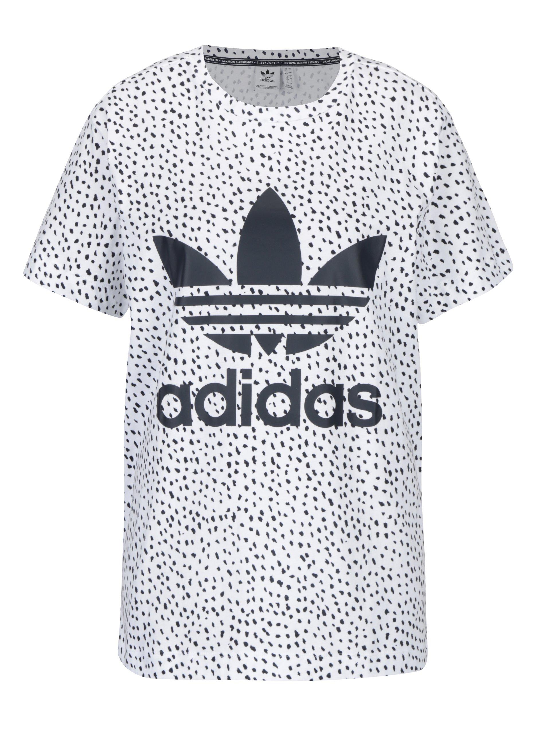 Bílé dámské vzorované tričko s potiskem adidas Originals