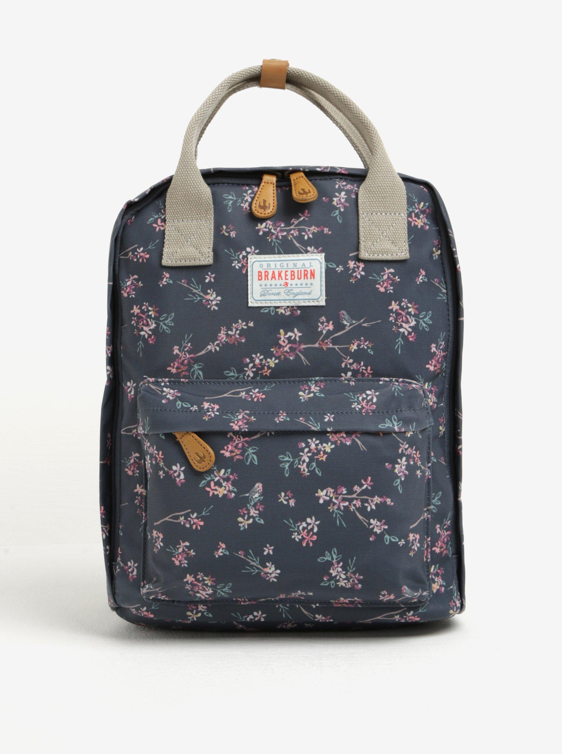 Tmavě modrý květovaný batoh Brakeburn