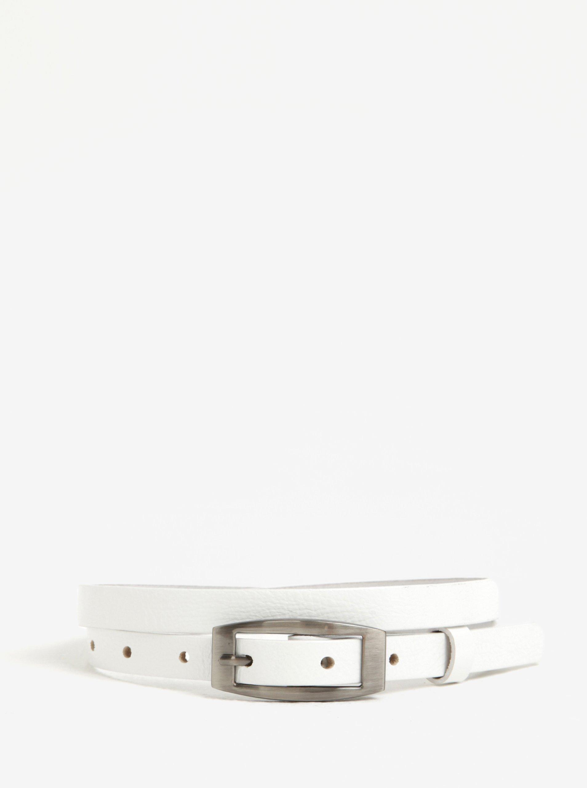 Bílý dámský úzký kožený pásek KARA
