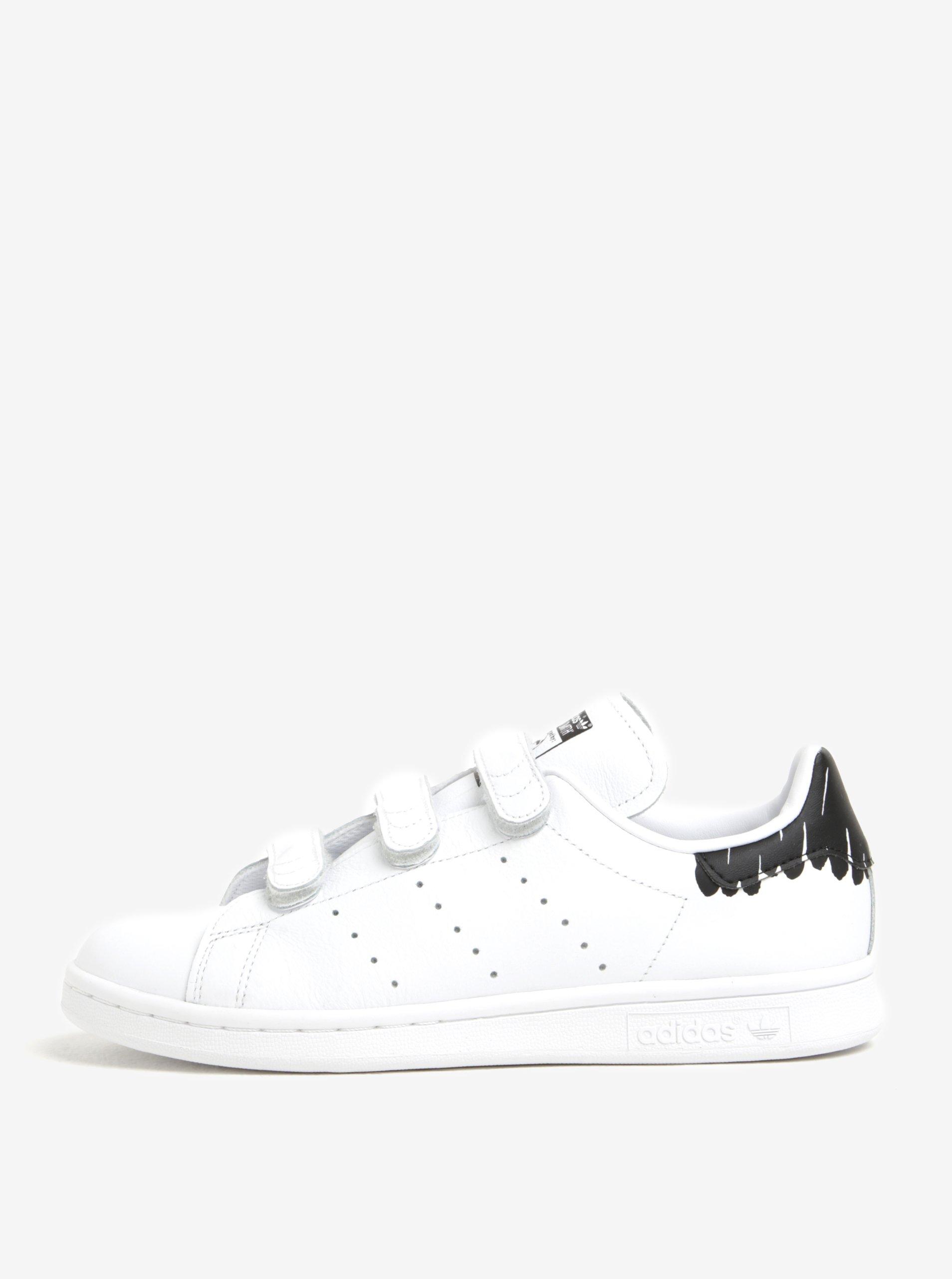 Bílé dámské tenisky na suchý zip adidas Originals Stan Smith