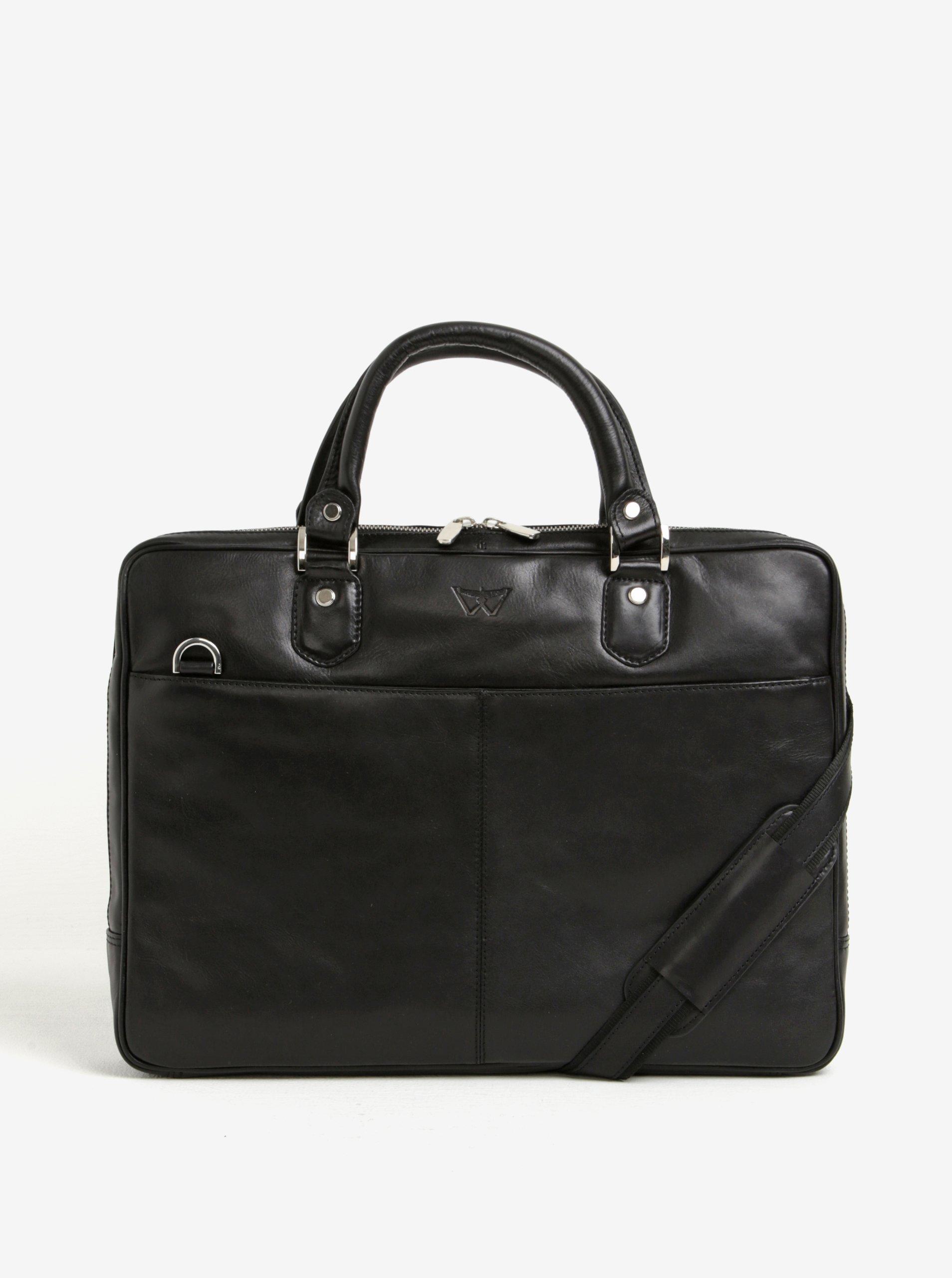 Čierna pánska kožená taška na notebook KARA
