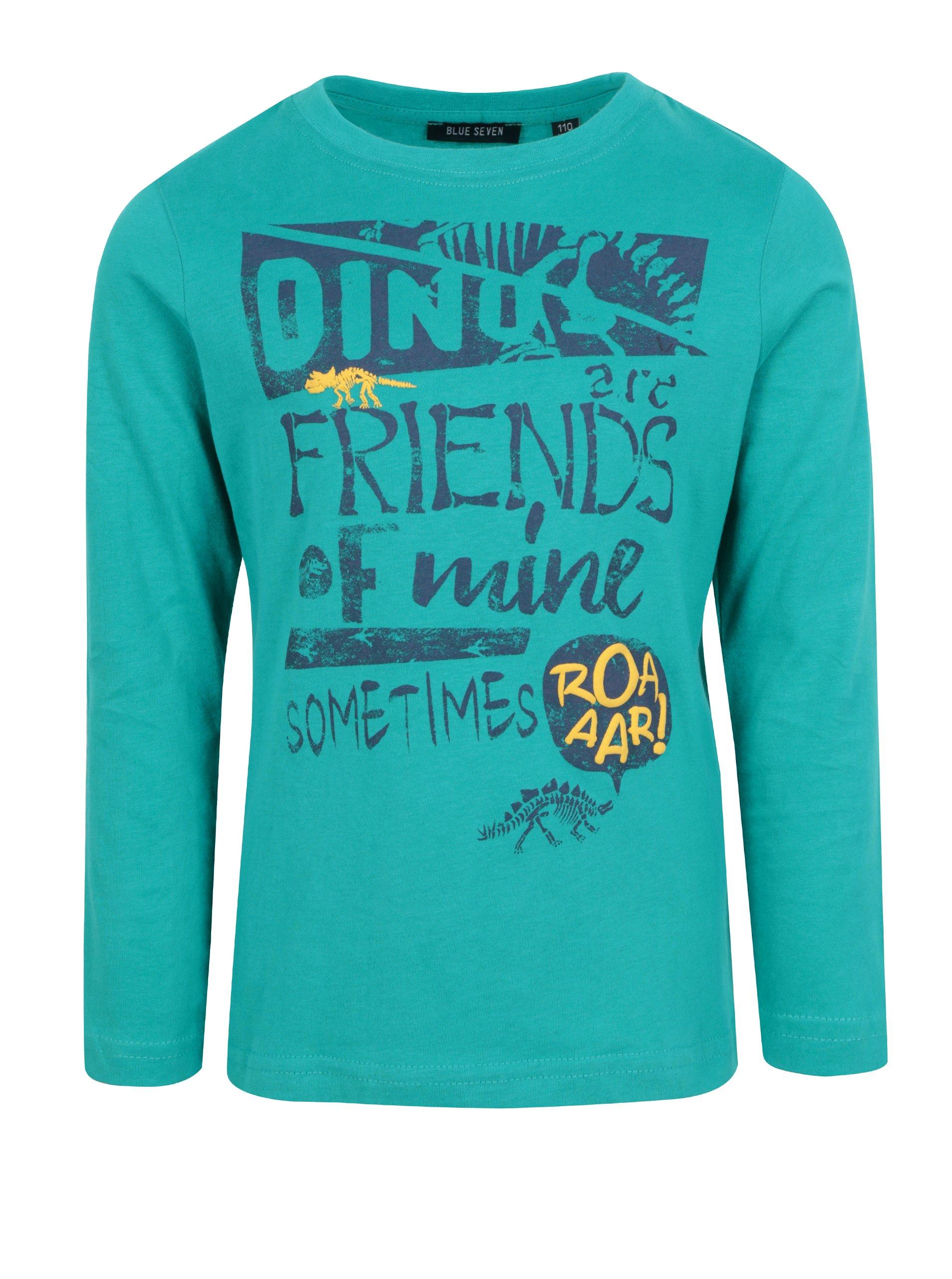 d9933326f60c Modré chlapčenské tričko s potlačou a dlhým rukávom Blue Seven