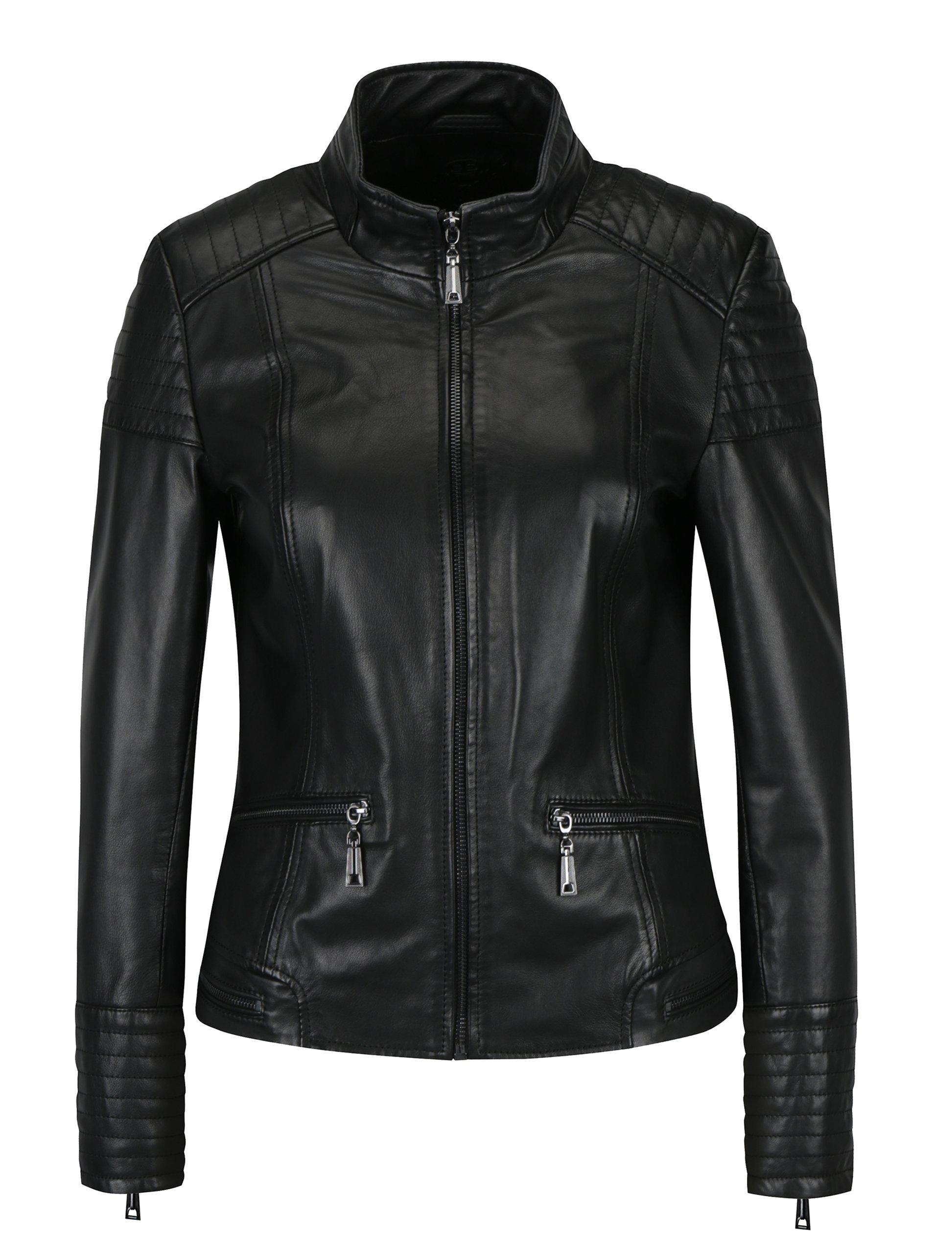 Černá dámská kožená bunda s prošívanými detaily KARA Pavlina