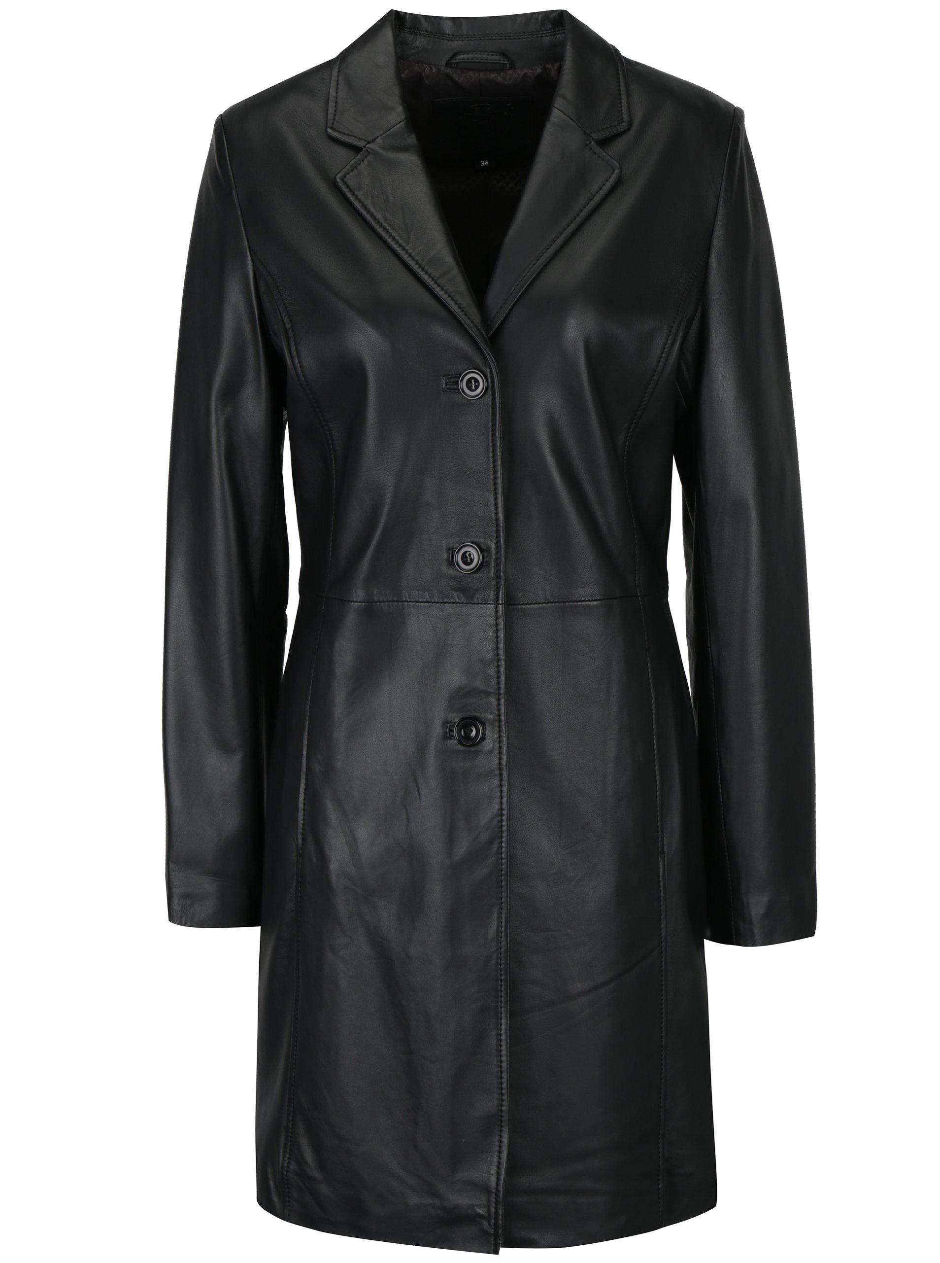 Černý dámský kožený kabát KARA Angela