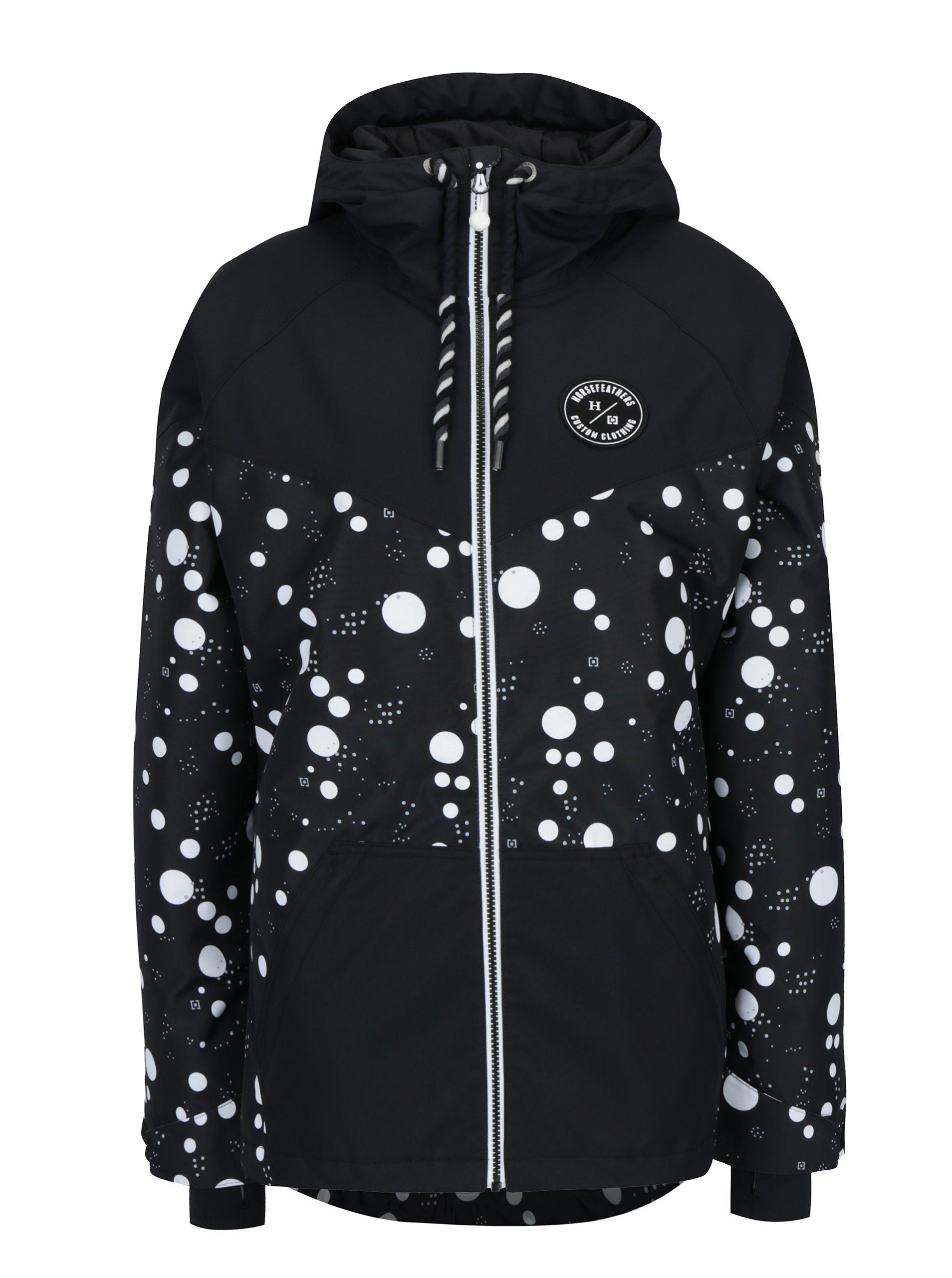 Bílo-černá dámská puntíkovaná zimní bunda Horsefeathers Fay