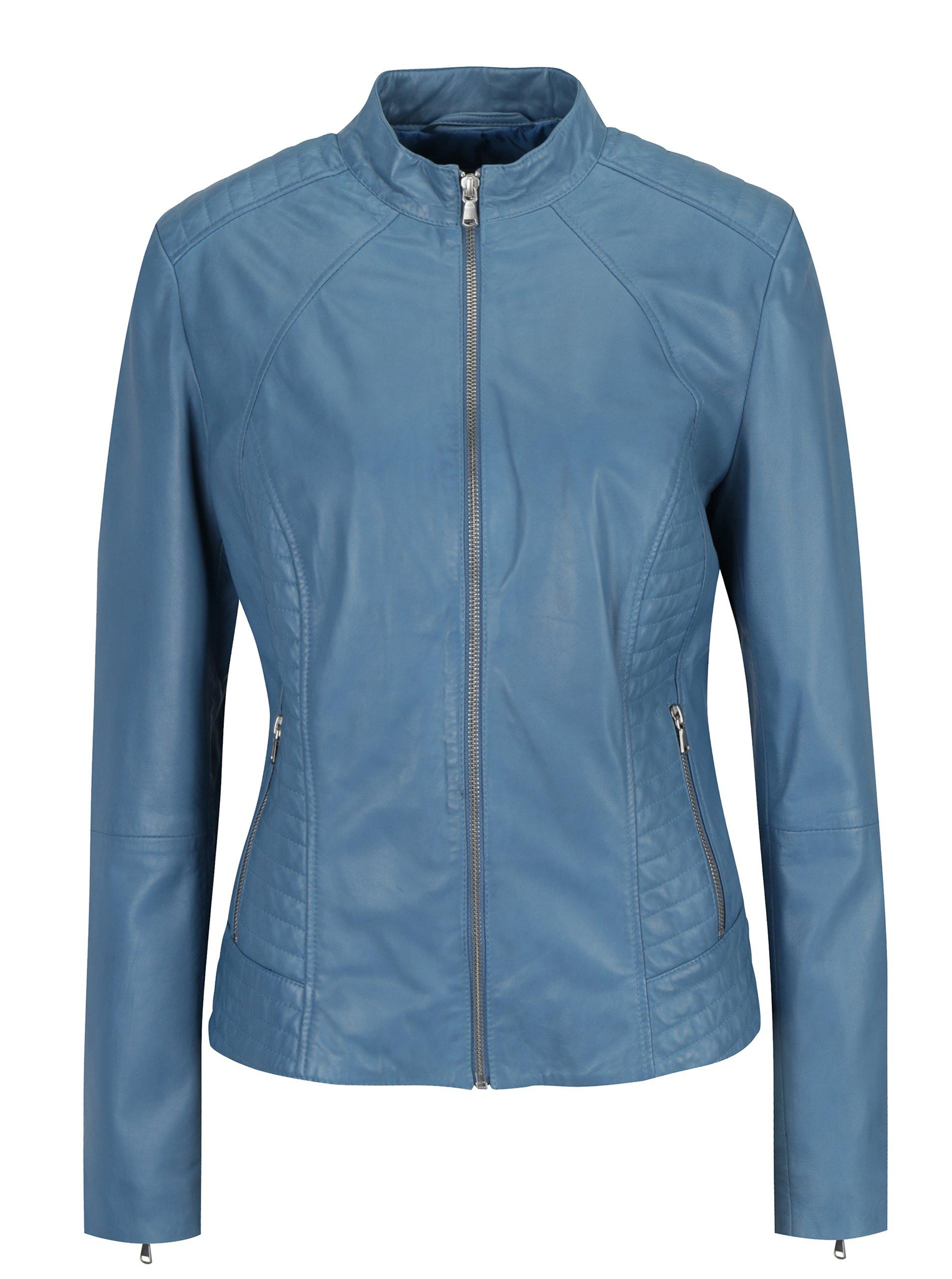 Modrá dámská kožená bunda s prošívanými detaily KARA Apost