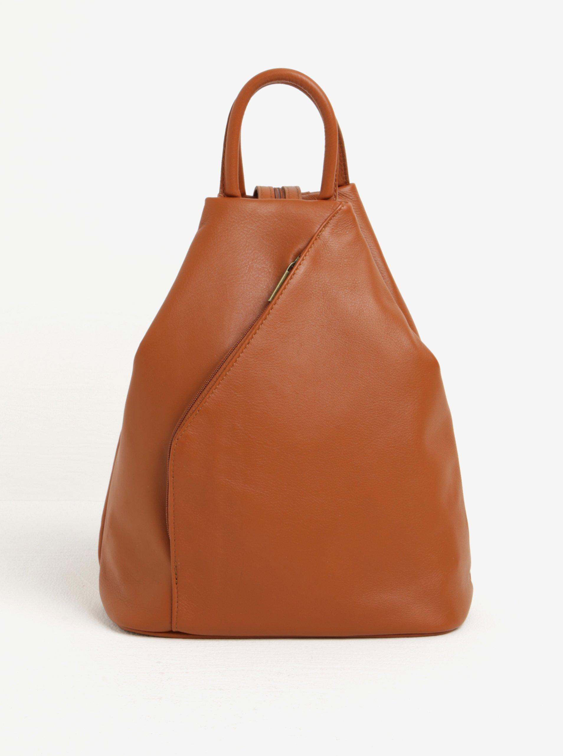 Hnedý dámsky kožený batoh KARA f2da88c55b