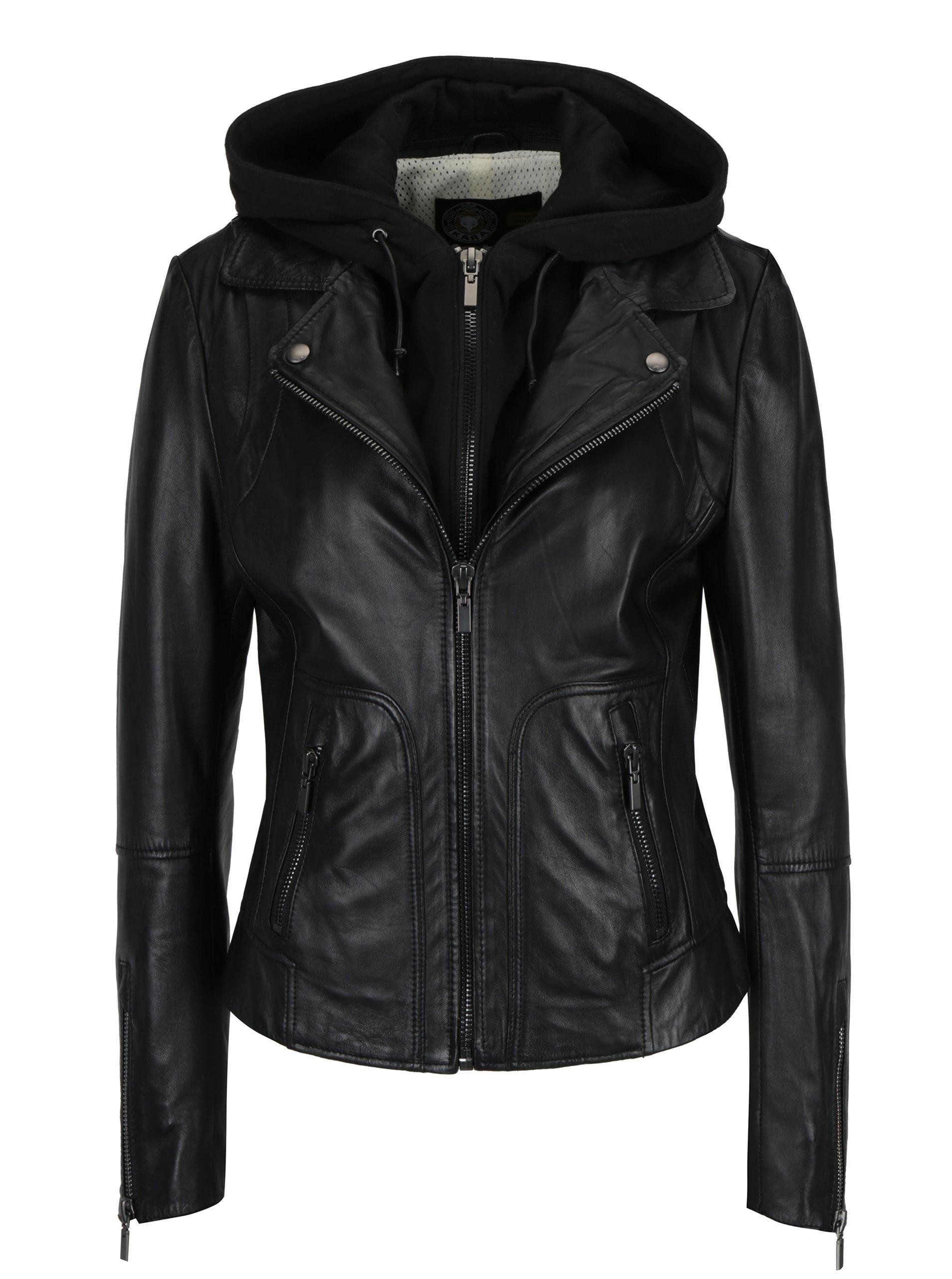 Černá dámská kožená bunda s kapucí KARA Preto