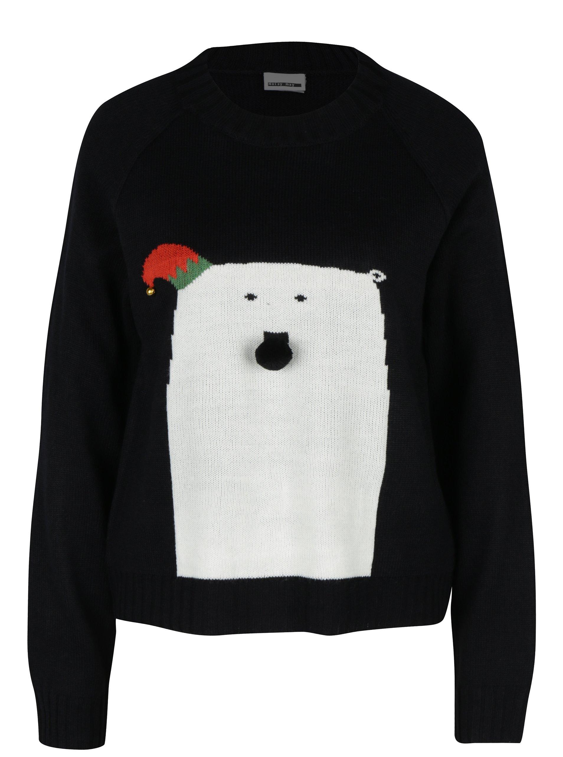 Černý svetr s motivem medvěda Noisy May Snow bear