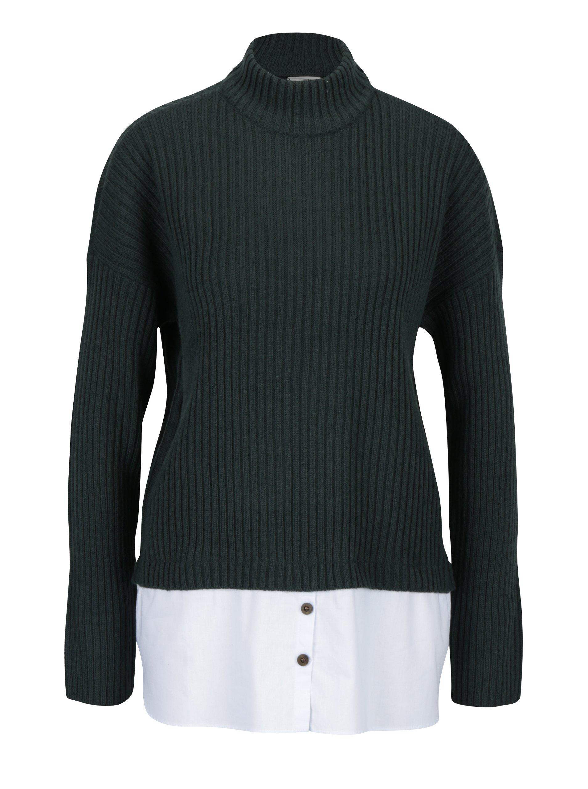 Tmavě zelený svetr s příměsí vlny a všitým košilovým dílem Noisy May Nami d8043b9fe6