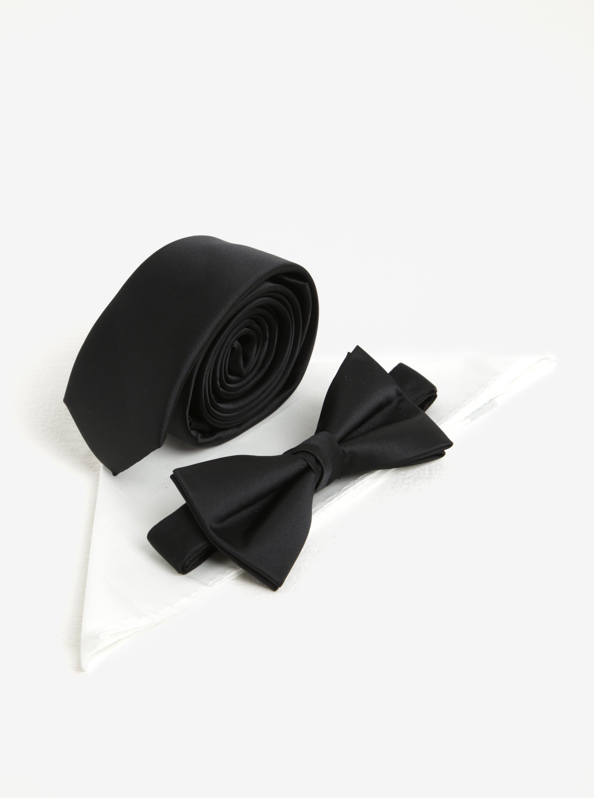 Súprava kravaty, motýlika a vreckovky v čiernej a bielej farbe Jack & Jones Premium Necktie