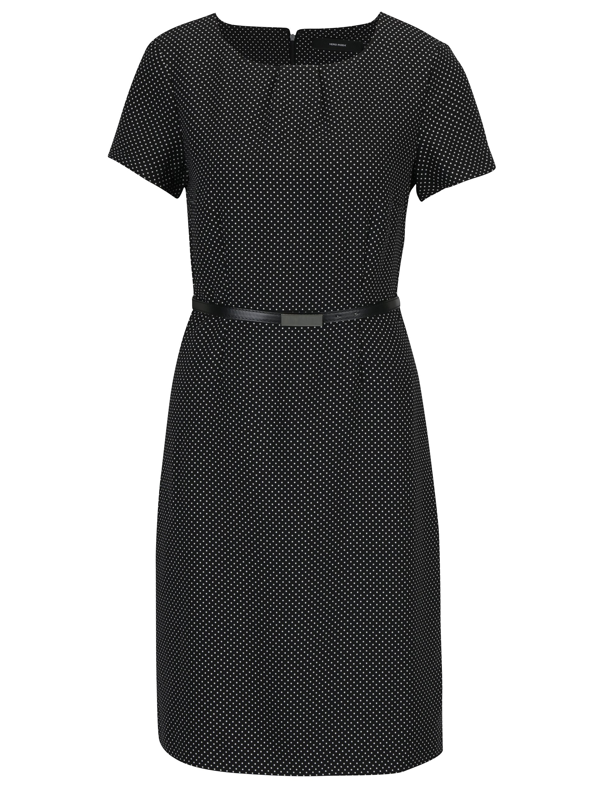 Černé puntíkované šaty s páskem VERO MODA Helen