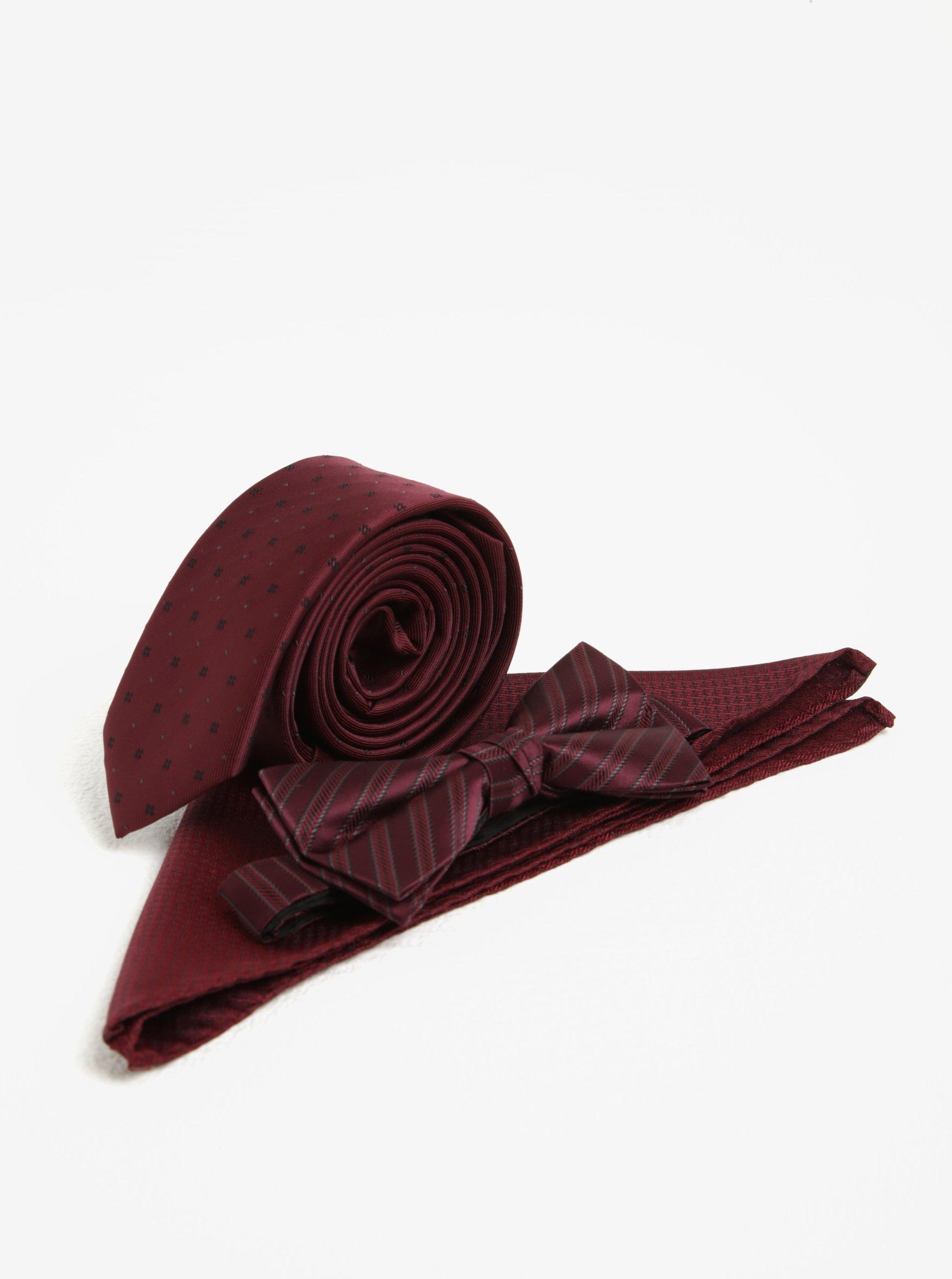 Súprava kravaty, motýlika a vreckovky vo vínovej farbe Jack & Jones Premium Necktie
