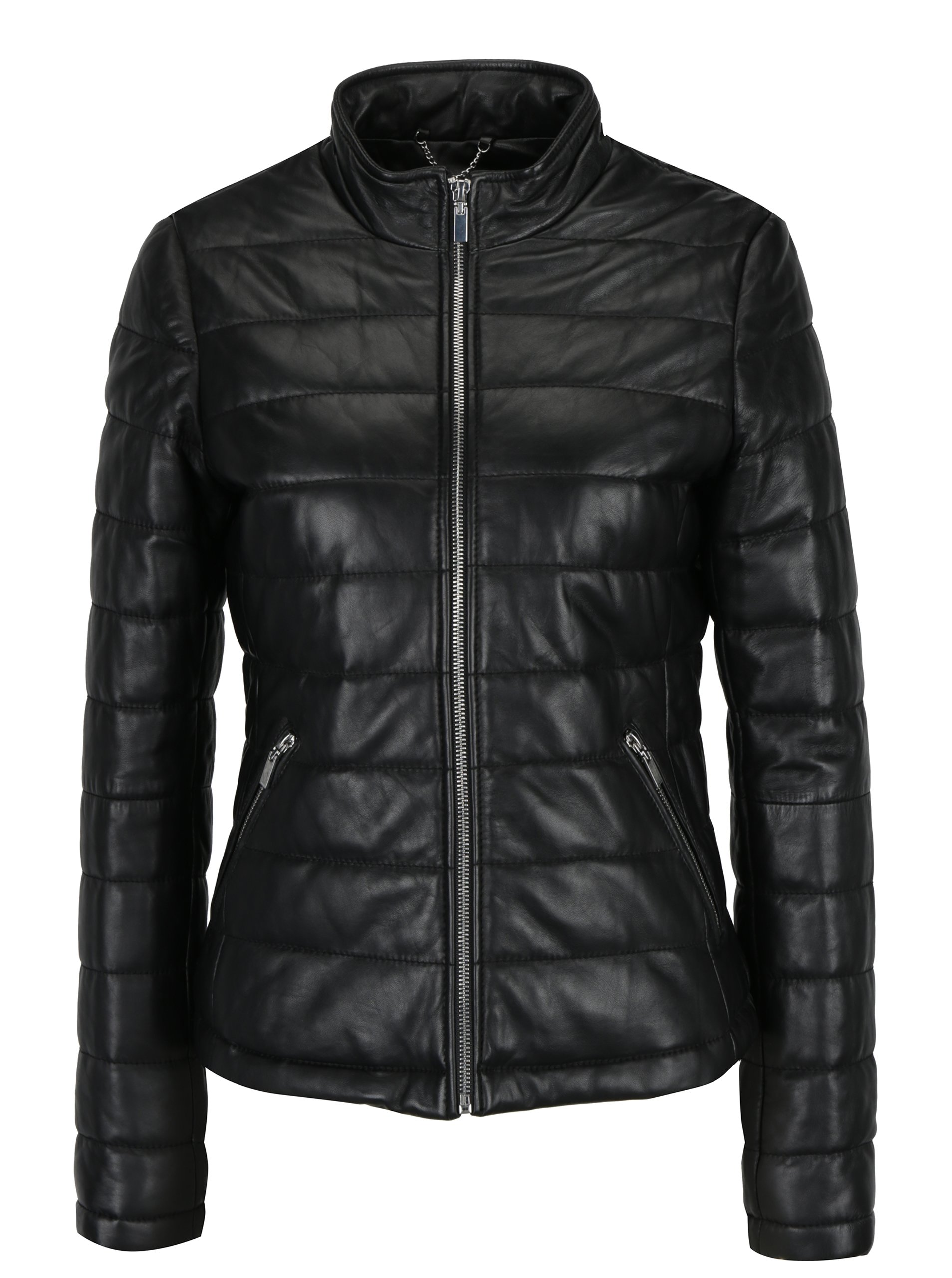 Černá dámská kožená bunda s prošíváním KARA Clamar
