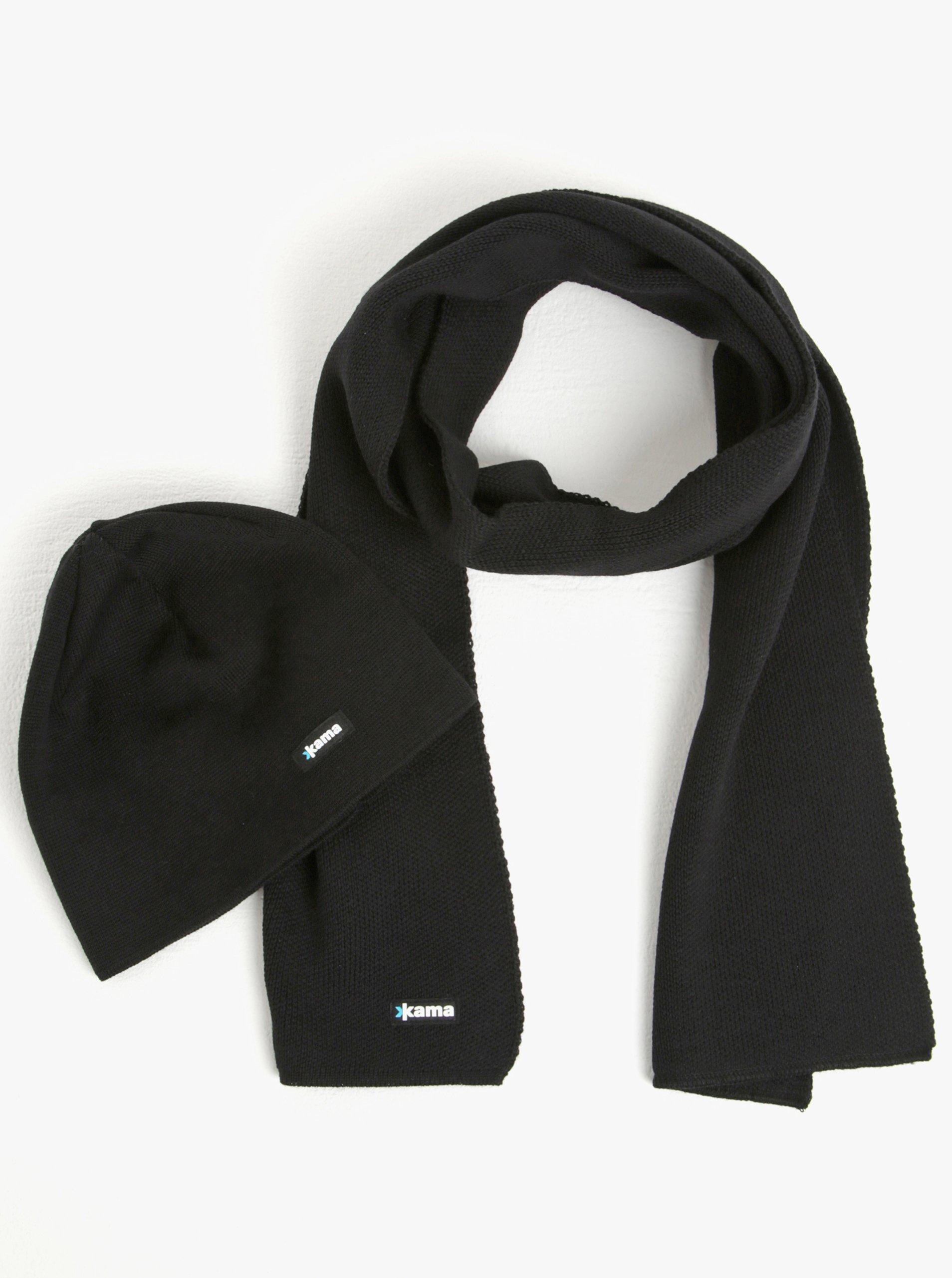Set pánské zimní čepice a šály z Merino vlny v černé barvě Kama