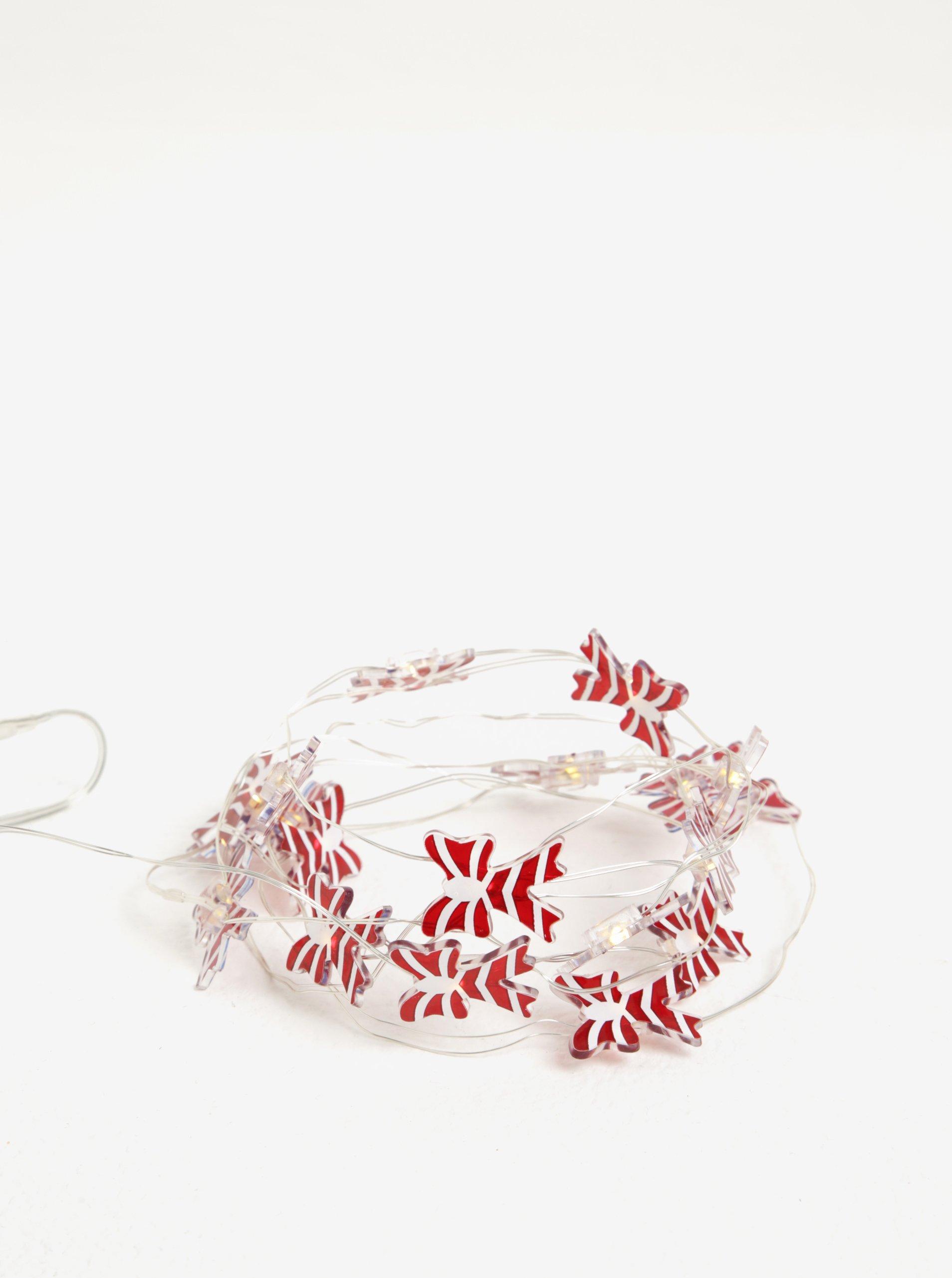 Bílo-červený LED svítící řetěz s mašlemi Kaemingk