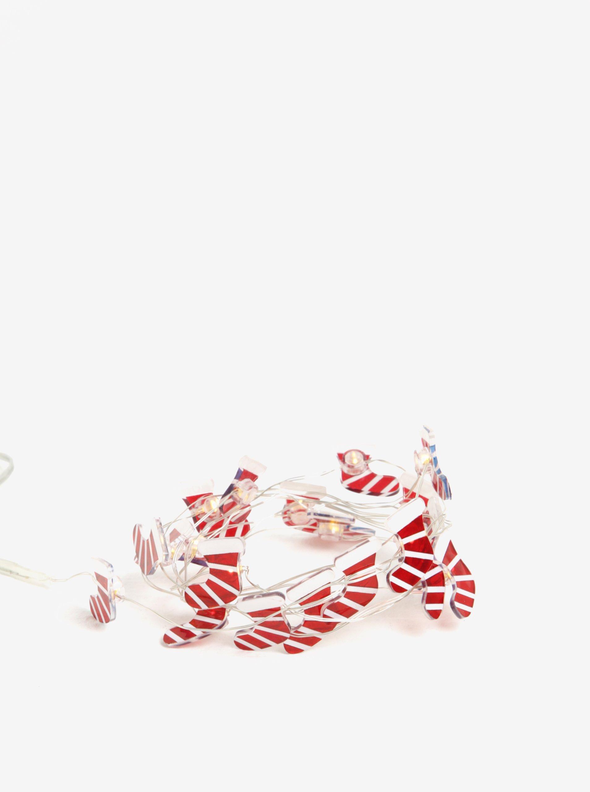 Bílo-červený LED svítící řetěz s motivem punčoch Kaemingk