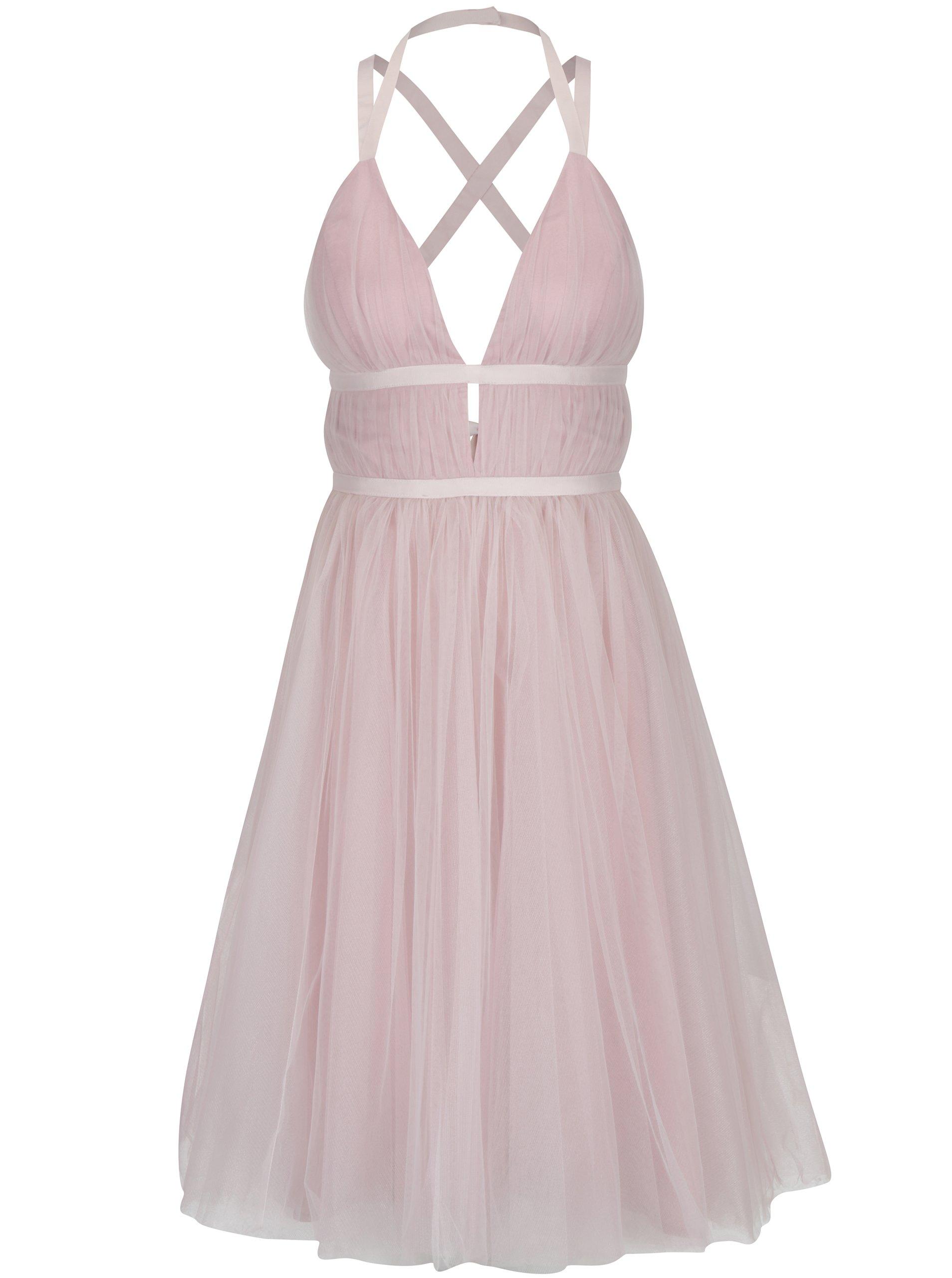 Světle růžové šaty s odhalenými zády Chi Chi London Ivonette