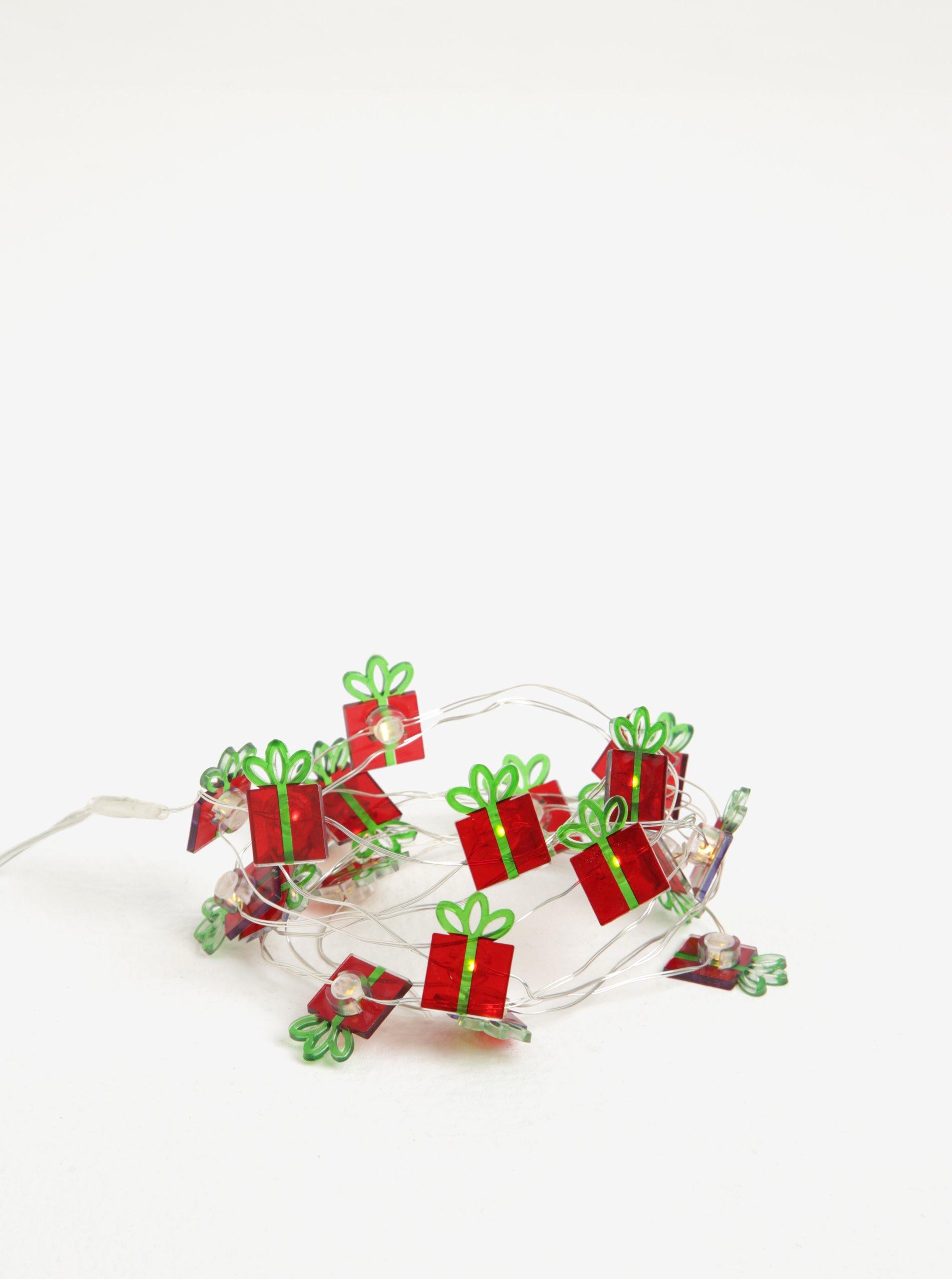 Zeleno-červený LED svítící řetěz s motivem dárků Kaemingk